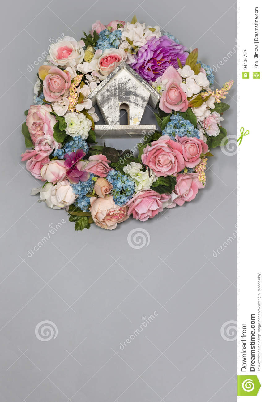 A wreath of colorful delicate flowers