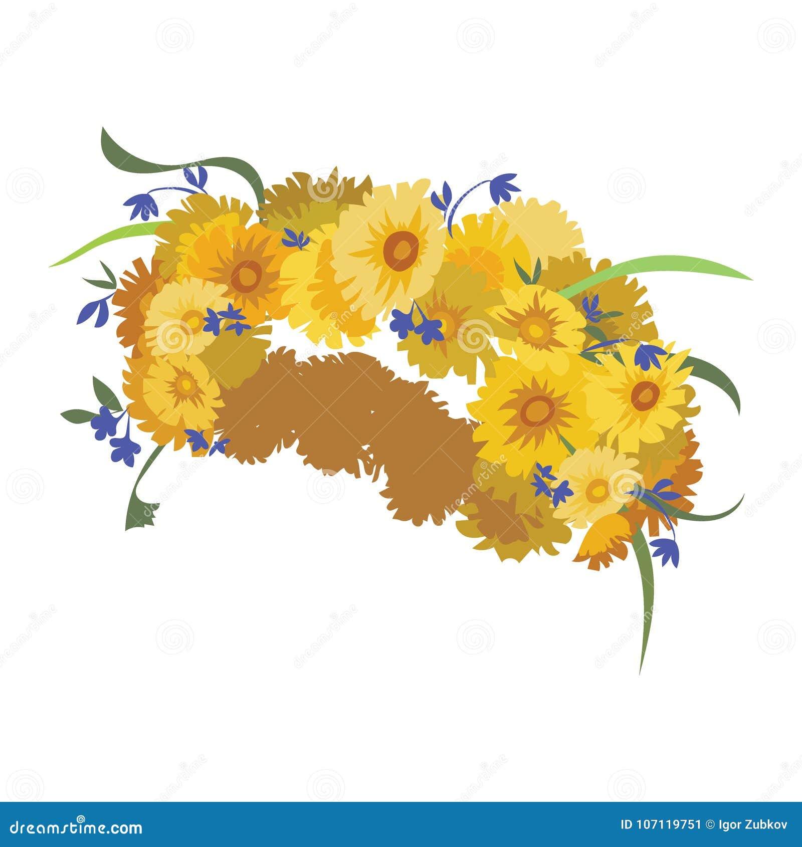 Wreath Of Dandelions Spring Wreath Of Flowers Headpiece Stock