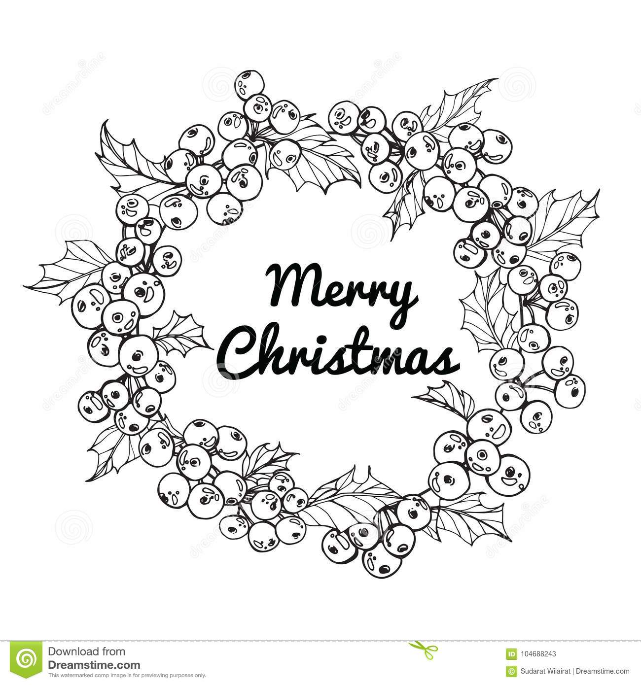 Christmas Flower Line Drawing : Wreath flower drawing illustration for merry christmas`day