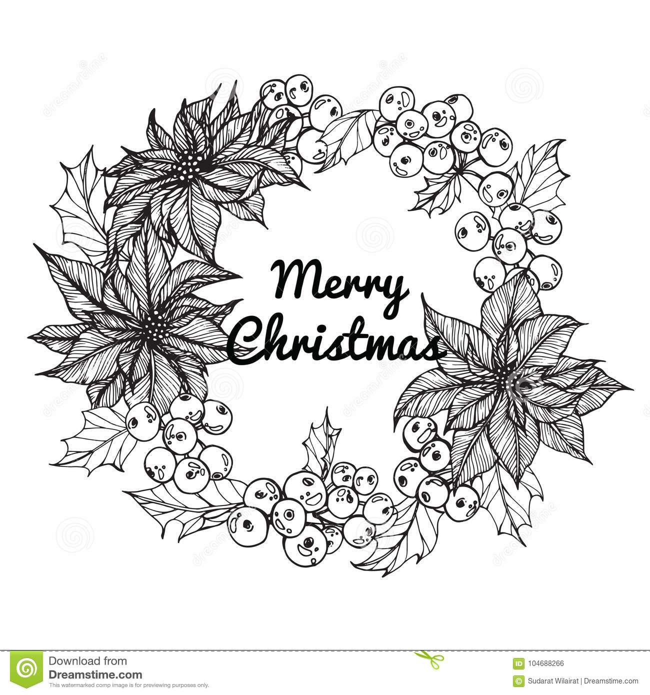 Christmas Day Drawing Images.Wreath Flower Drawing Illustration For Merry Christmas Day