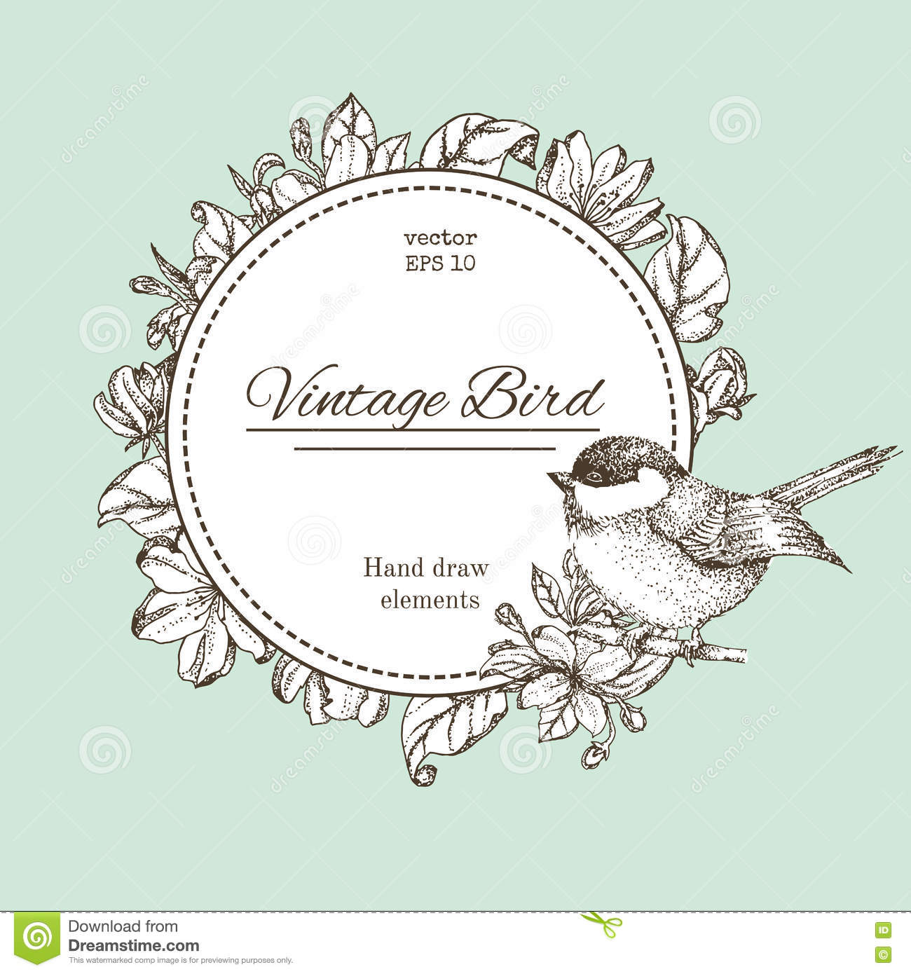 Black and white floral wreath stock vector image 65241515 - Wreath With Flowers And Bird Vector Vintage Round Frame With Birds And Flowers Floral