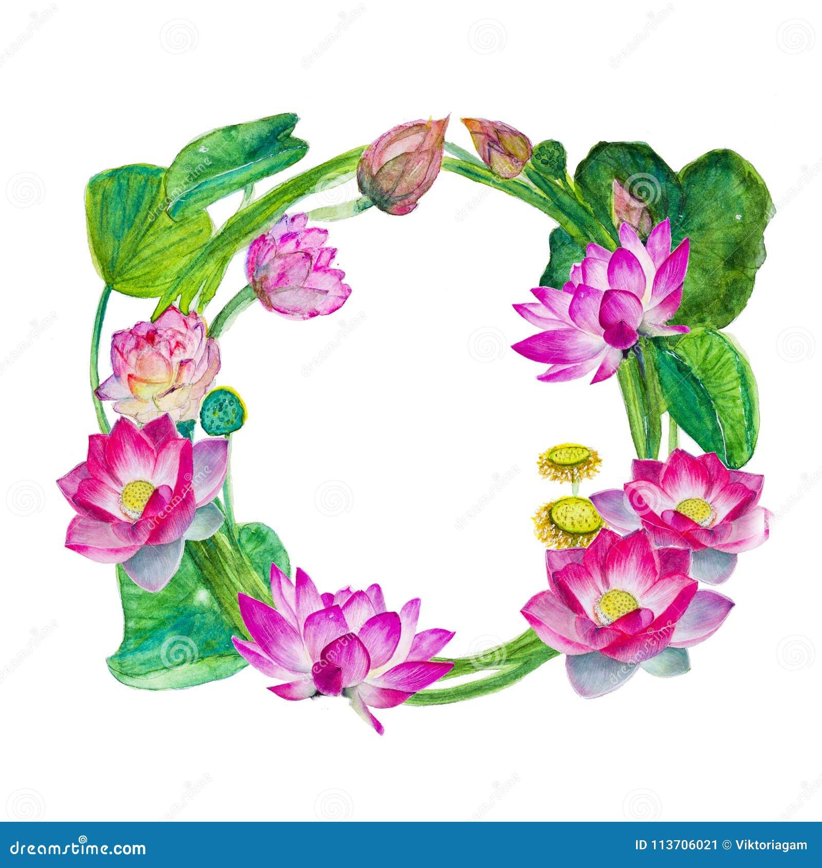 Wreath Of Flowers Leaves Buds And Lotus Flowers Watercolor Sk