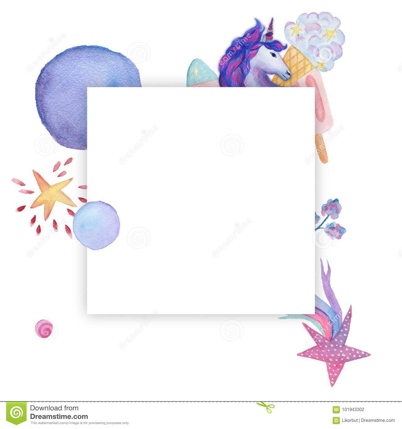 Wreath, Frame. Watercolor Objects, Unicorn Collection Stock ...