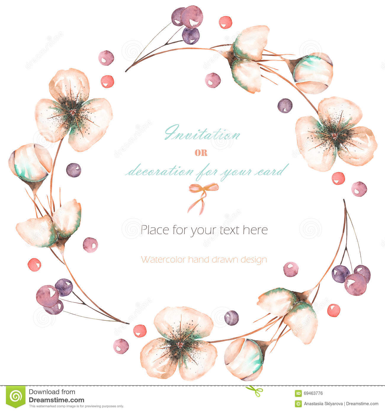 wreath frame with the watercolor pink abstract flowers and berries