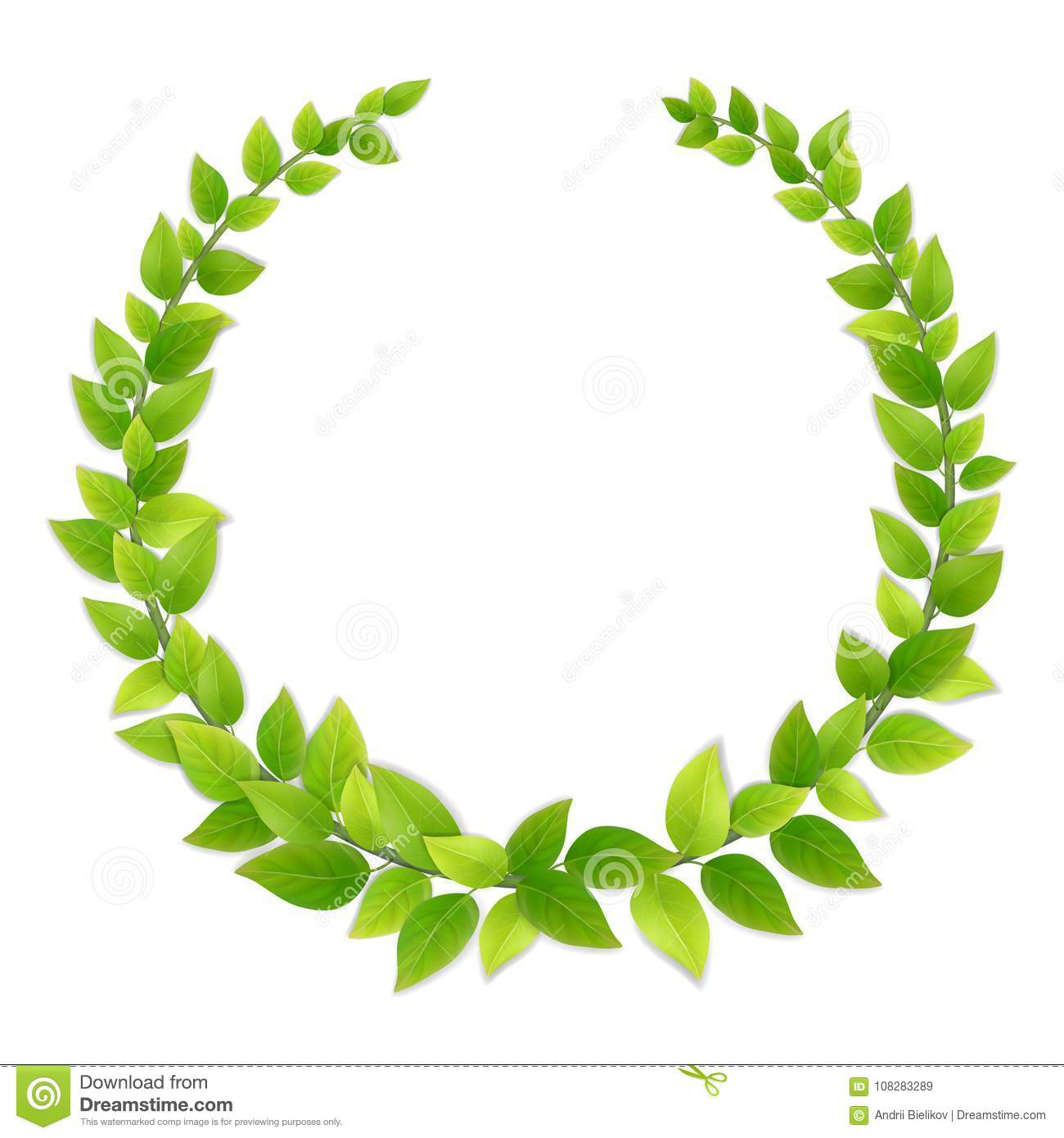 Wreath Of Fresh Green Leaves Stock Vector Illustration Of Foliage Garland 108283289