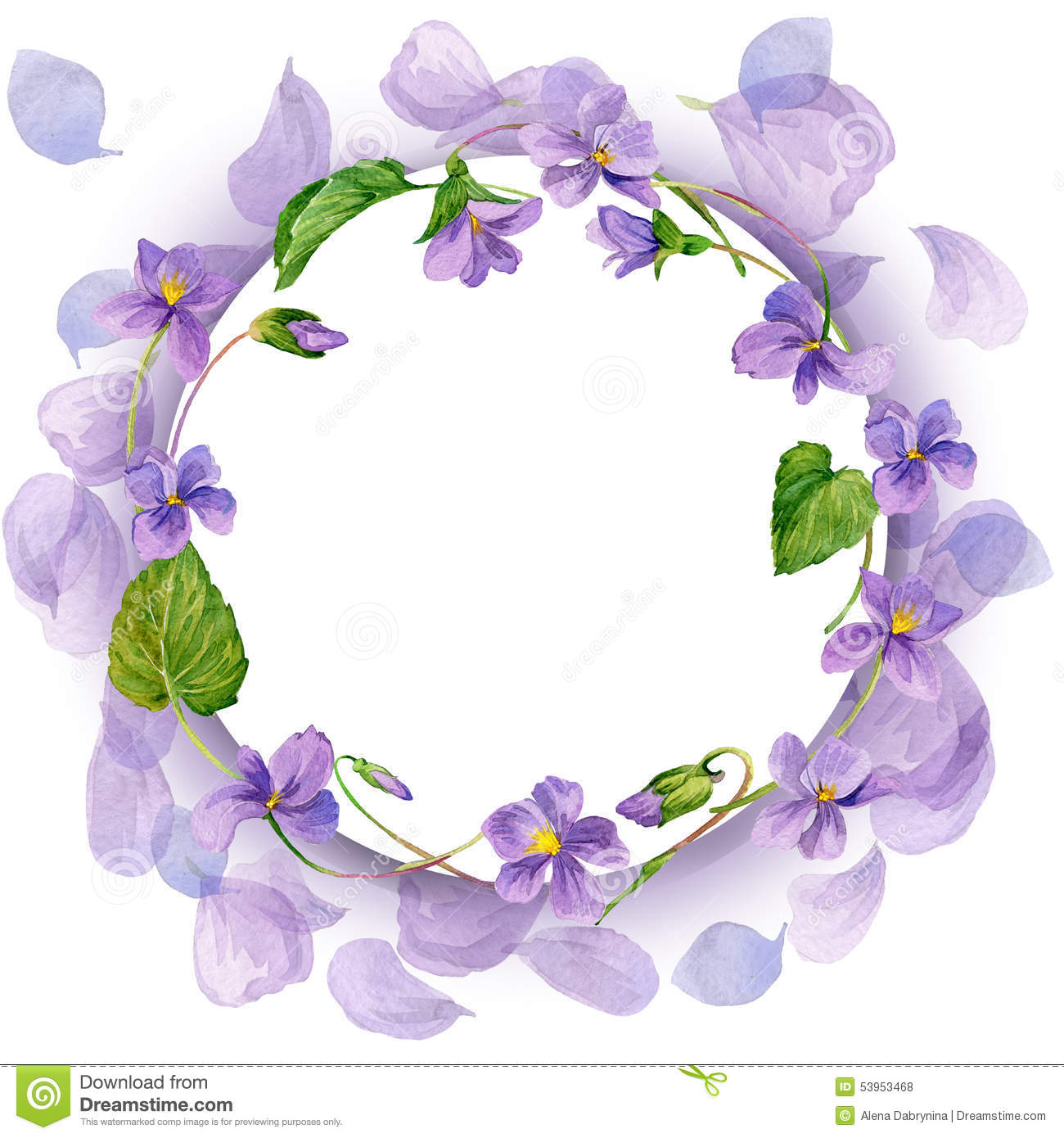 Wreath And Garden Flower Background. Watercolor Stock ...