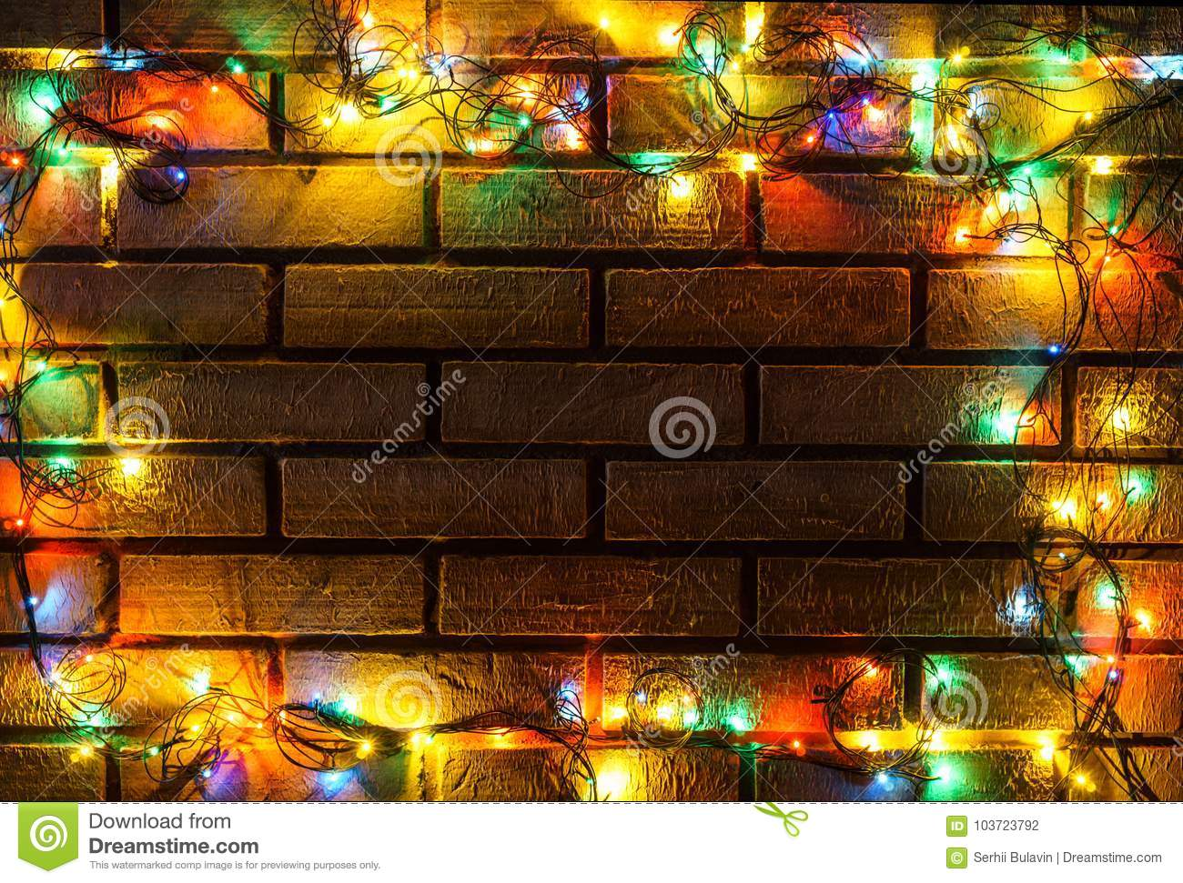 wreath and garlands of colored light bulbschristmas background