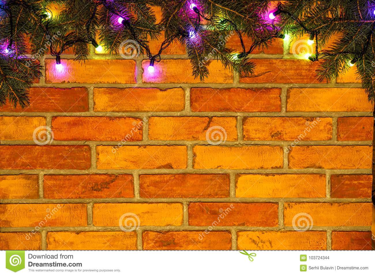 What Can I Use To Attach Christmas Lights To Brick wreath and garlands of colored light bulbs.christmas