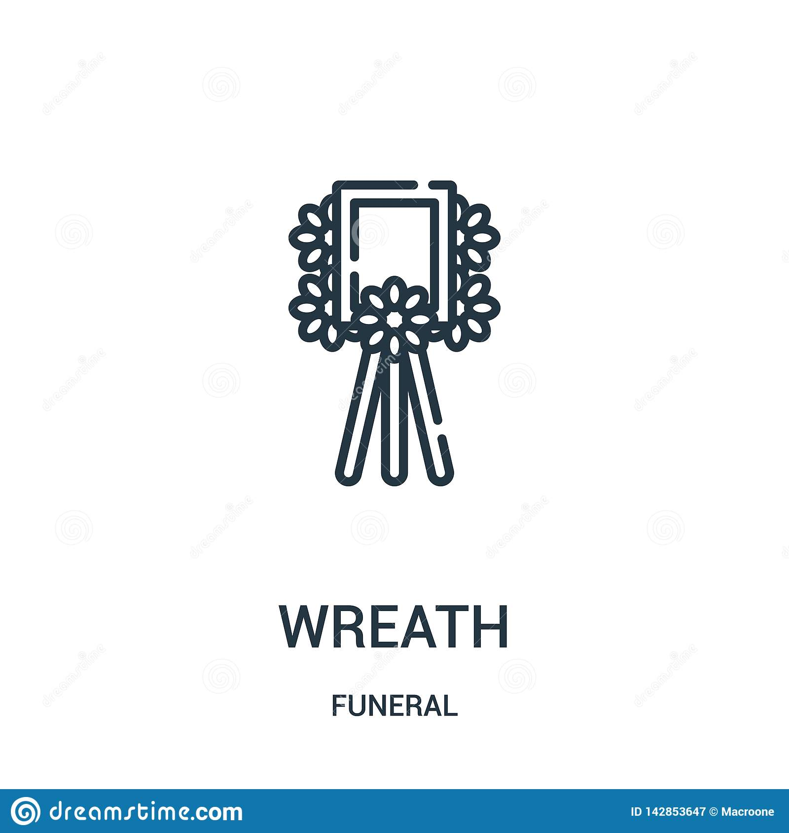 wreath icon vector from funeral collection. Thin line wreath outline icon vector illustration. Linear symbol for use on web and