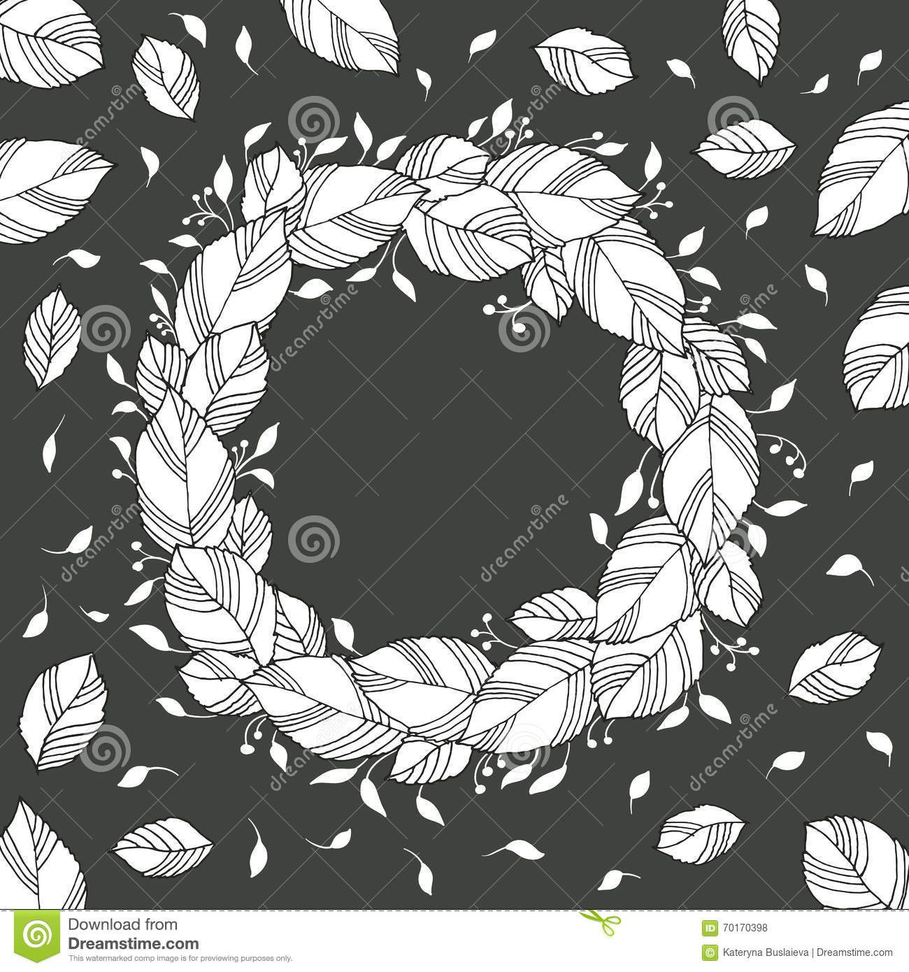 Black and white floral wreath stock vector image 65241515 - Black Illustration Leaves Vector White Wreath