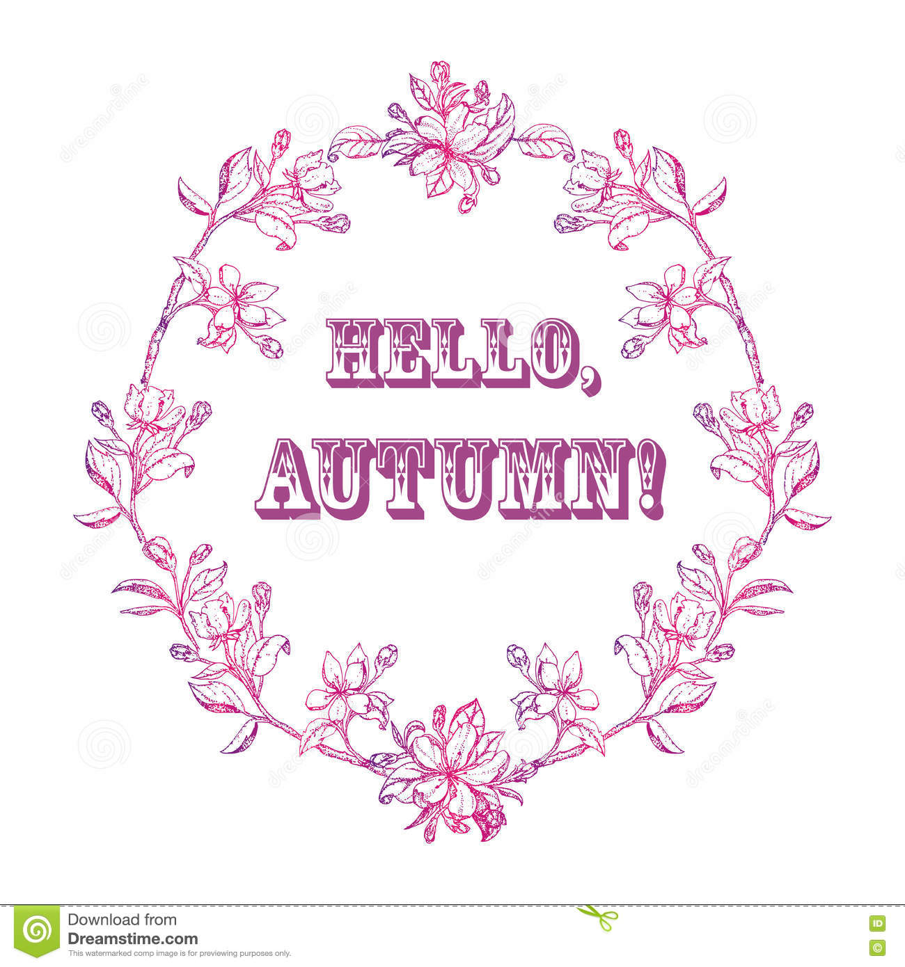 wreath of leaves and flowers with the word hello autumn stock