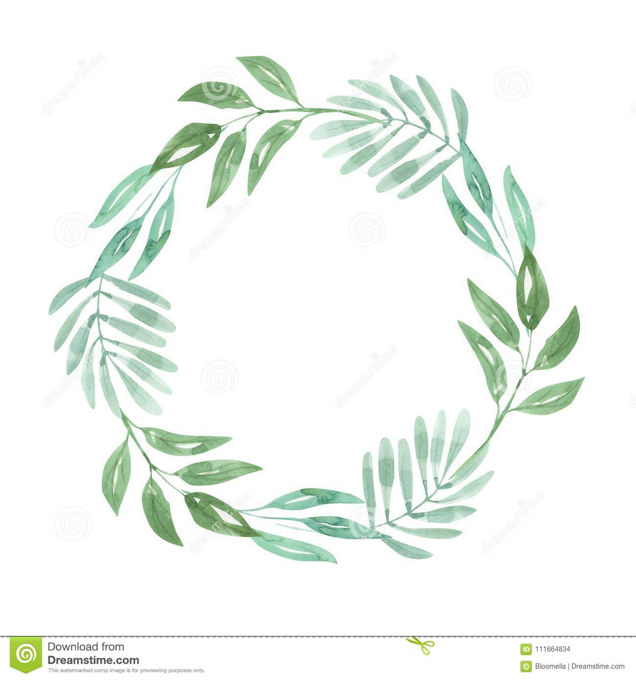 9fc44c946ea8 Hand Painted Green Leaf Watercolor Foliage Leaves - Wreath Nature Garland  perfect for Weddings