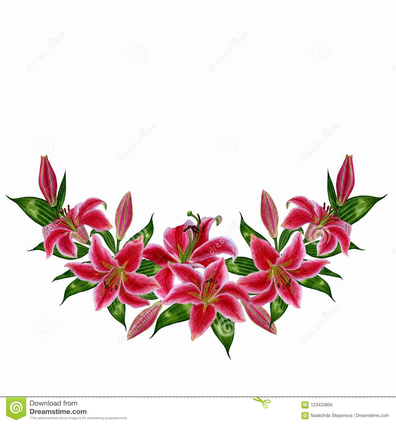 Wreath of lily flowers on white background stock illustration download wreath of lily flowers on white background stock illustration illustration of blossom izmirmasajfo