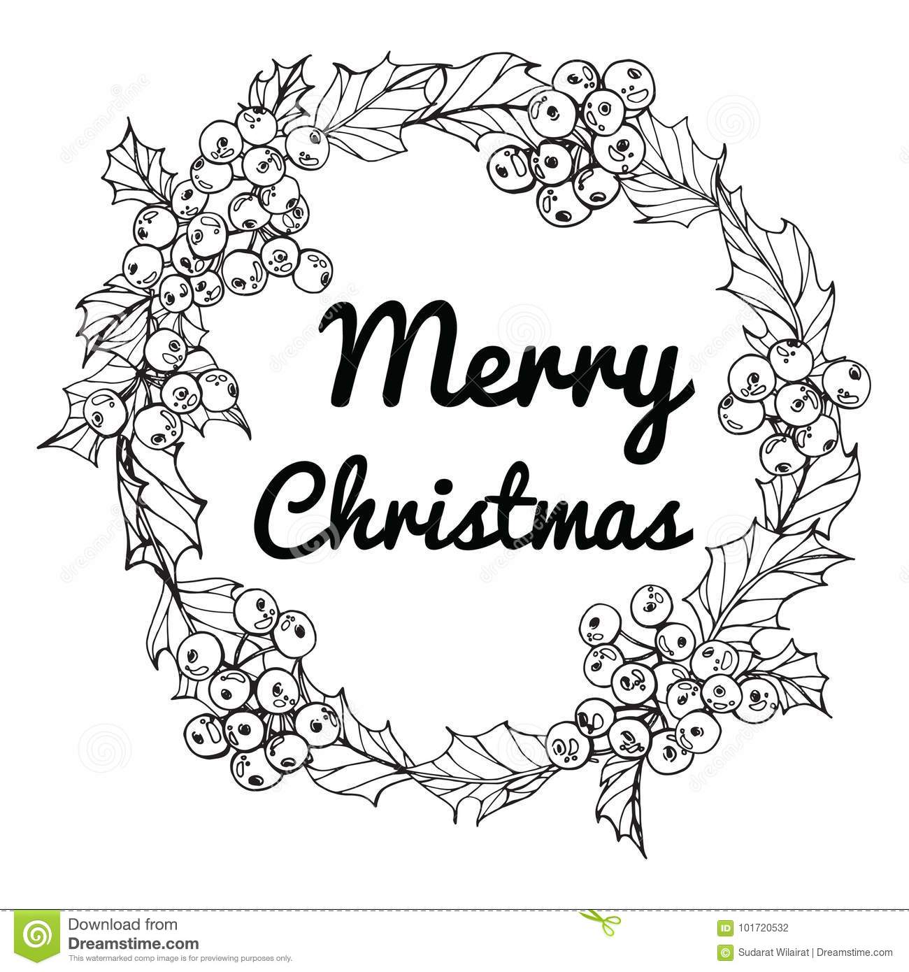 Christmas Day Drawing Images.Wreath For Merry Christmas Day Stock Illustration