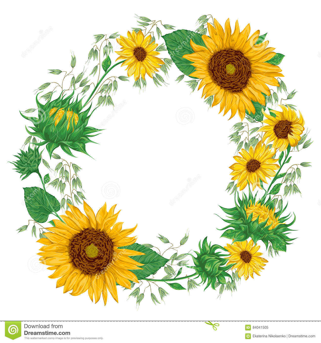 Wreath With Sunflowers And Oat. Rustic Floral Background ...