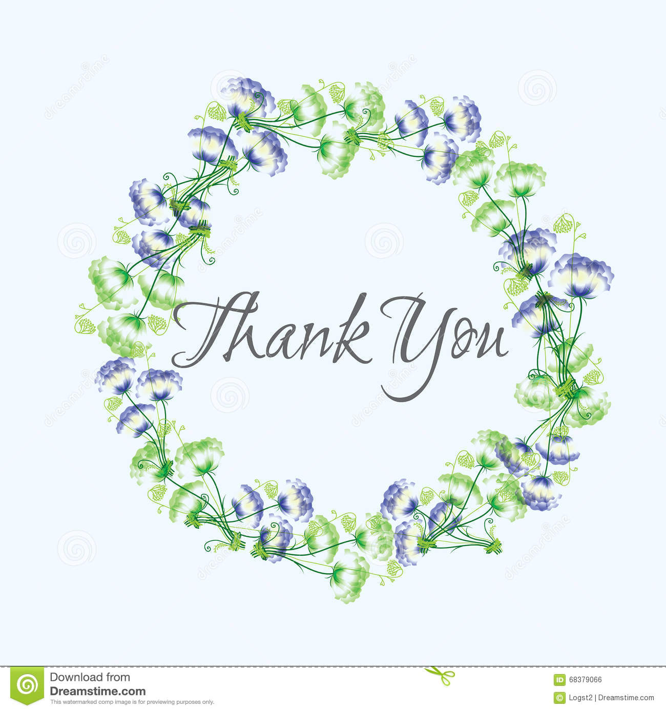 wreath thank you vector greeting card template stock vector