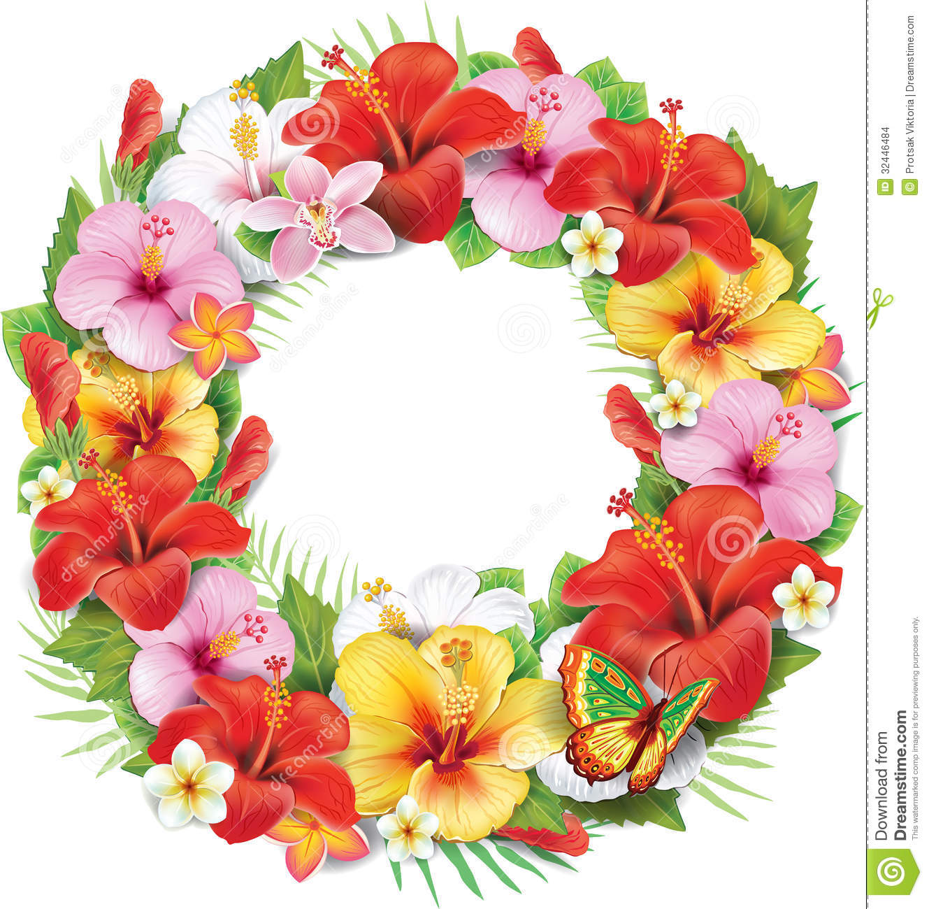 Wreath Of Tropical Flower Stock Images - Image: 32446484