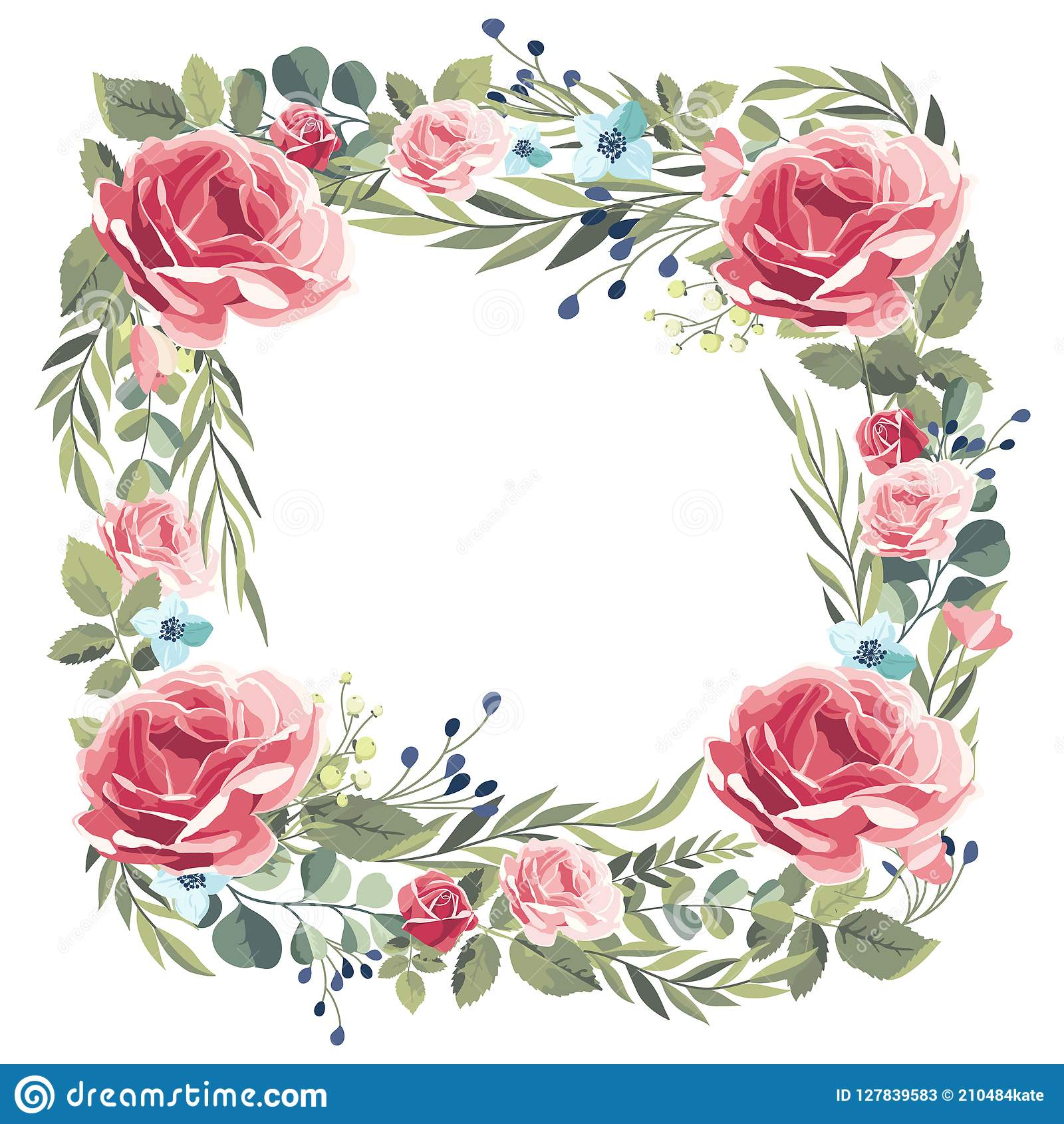 Wreath of vintage pink roses on a white background.