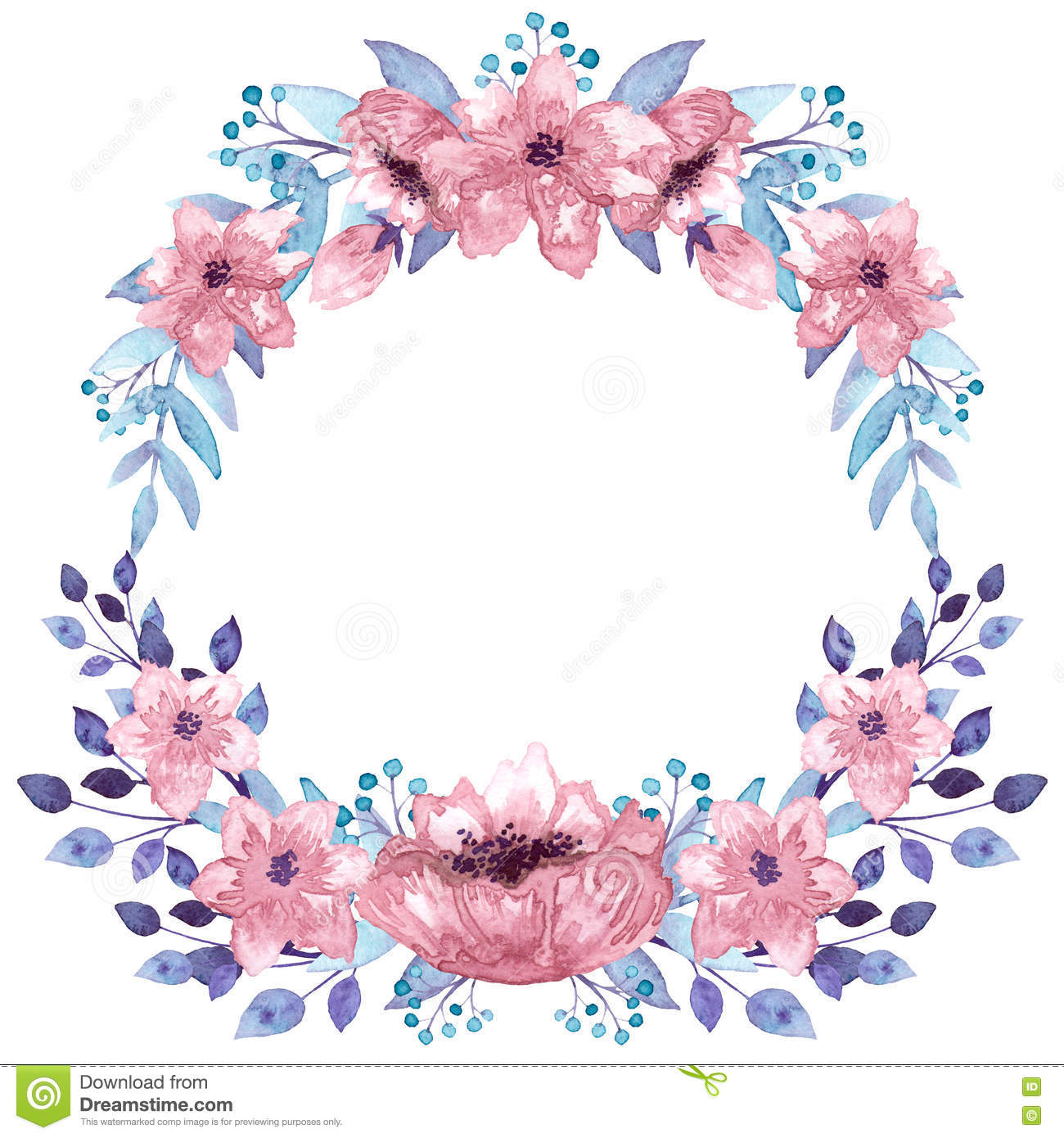Wreath With Watercolor Pink Flowers And Light Blue Leaves Stock