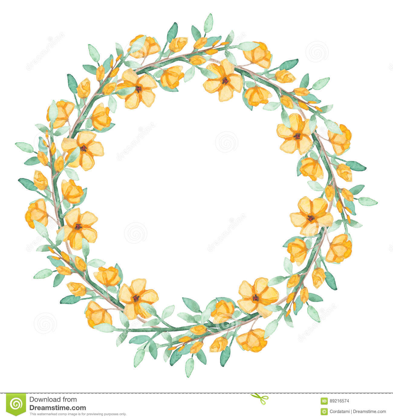 Wreath With Watercolor Yellow Flowers And Green Herbs Stock