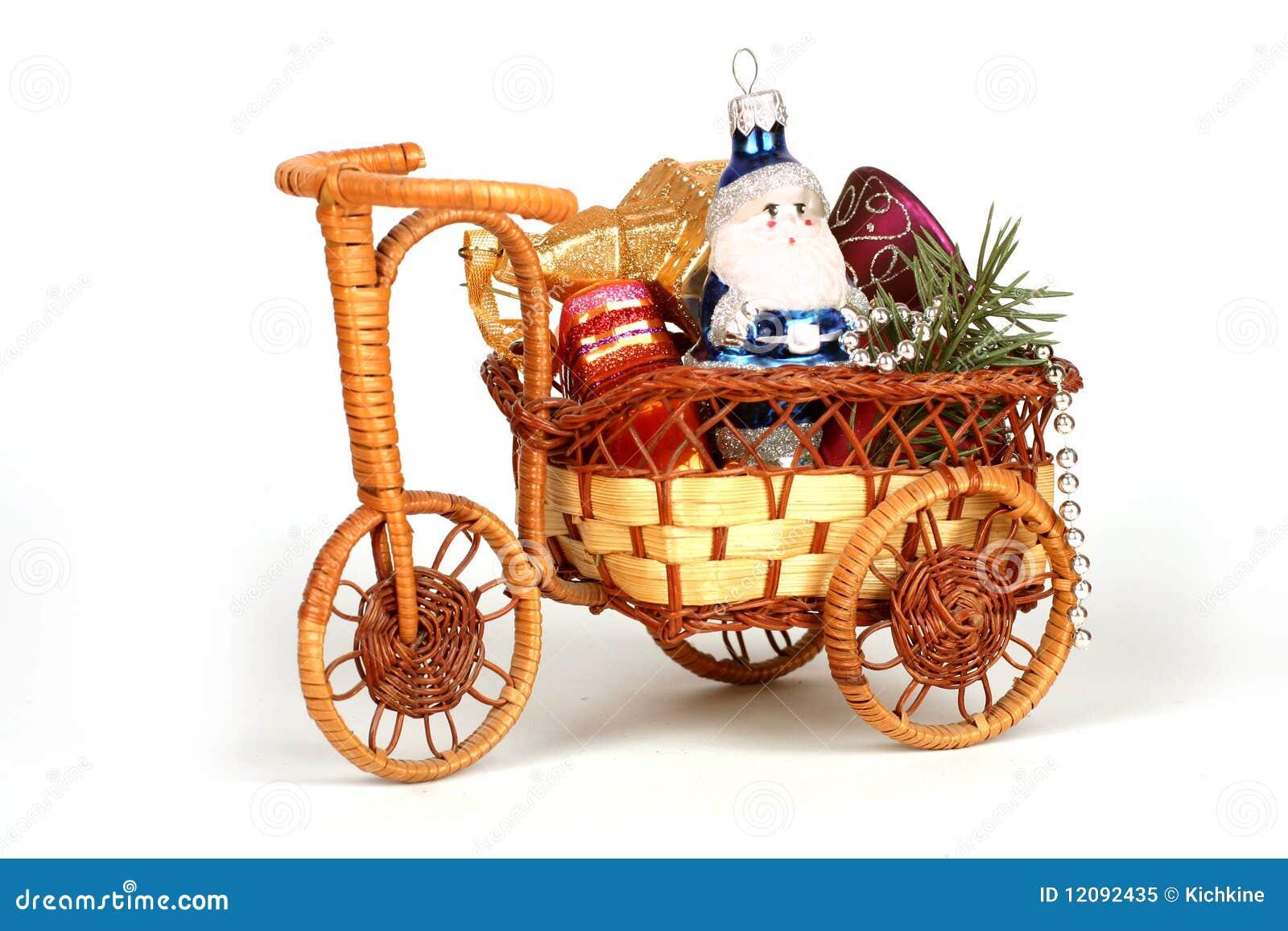 5955493645 Wreathed Christmas cart stock image. Image of white