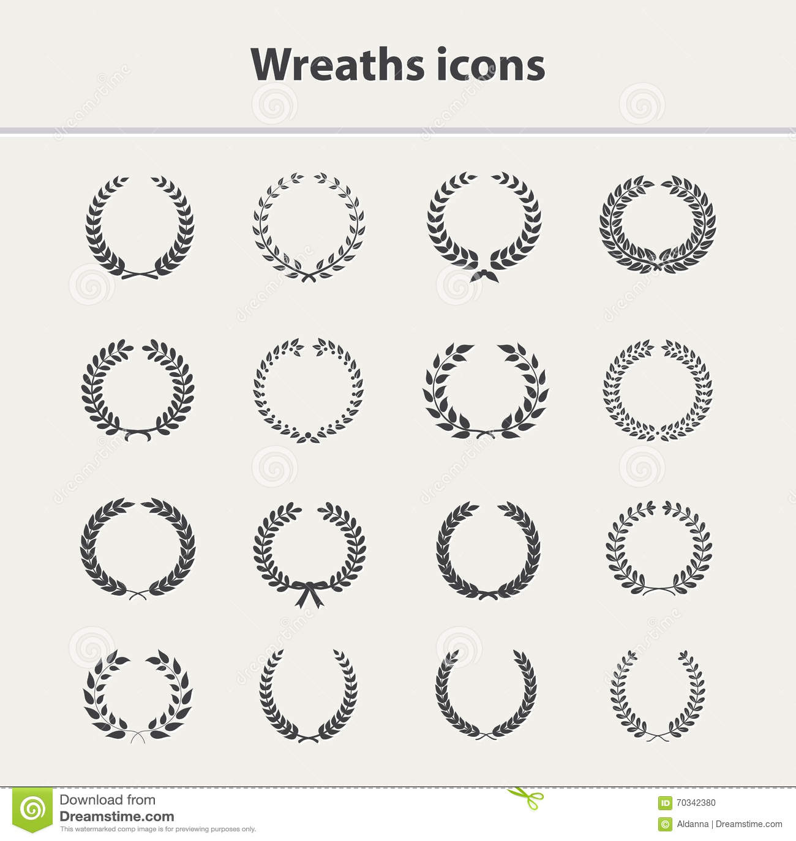 Wreaths icons set