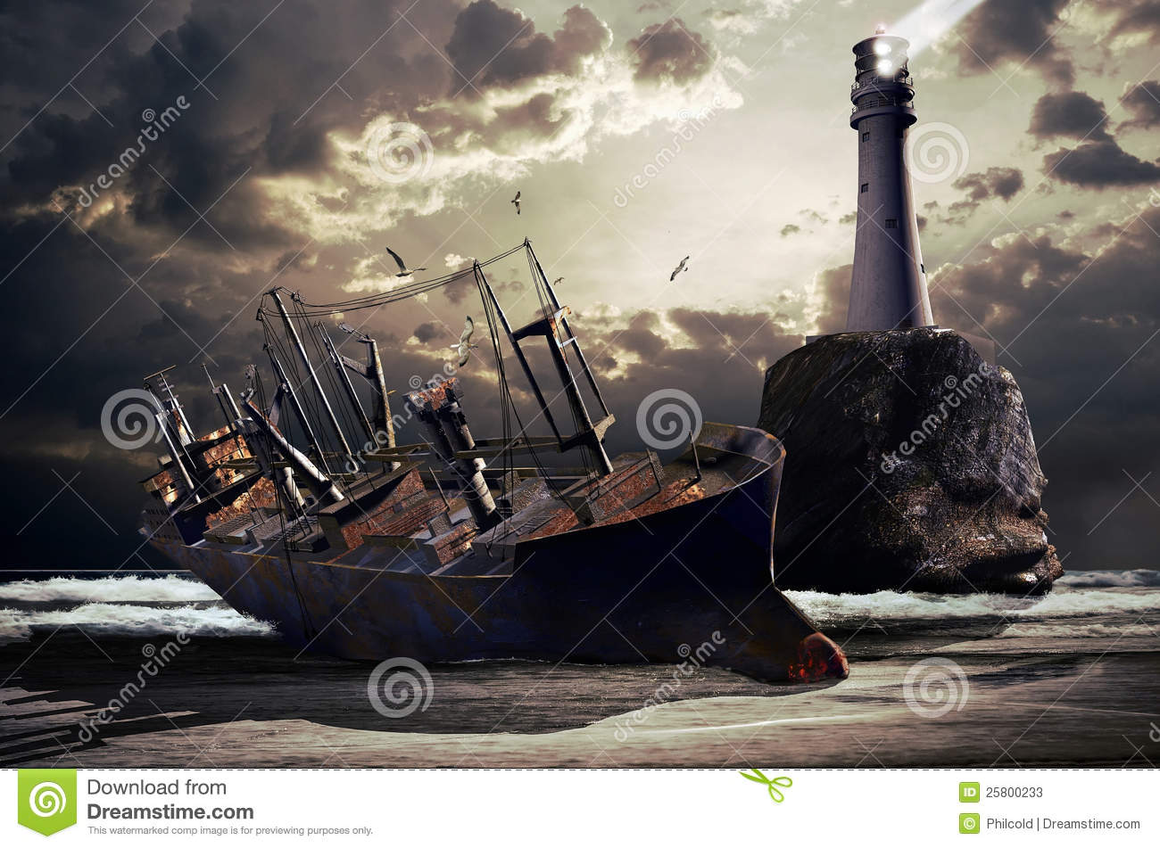 Wreck of a big cargo boat
