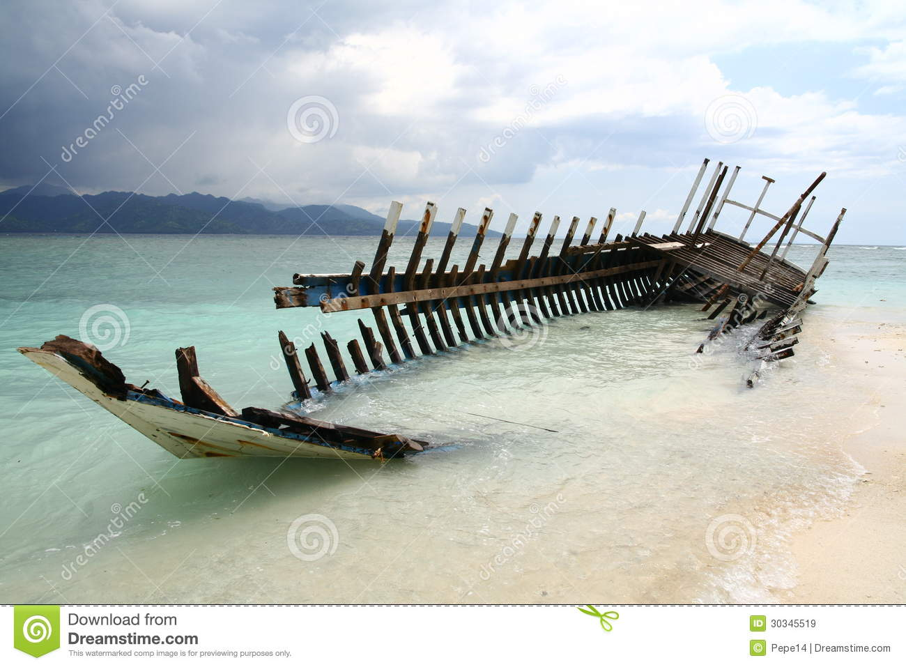 Wreck of the boat on the beach