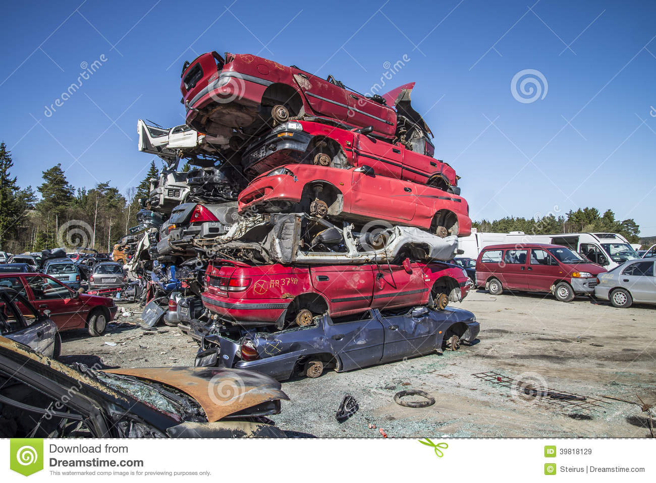 Wreck cars on a scrap yard editorial stock image. Image of junk ...
