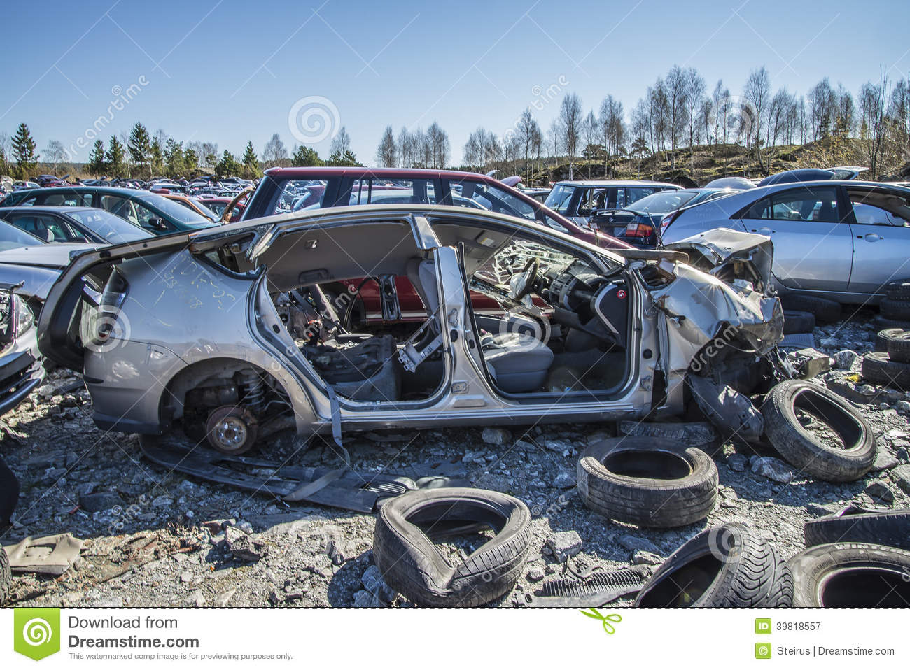 Wreck cars on a scrap yard editorial photography. Image of accident ...
