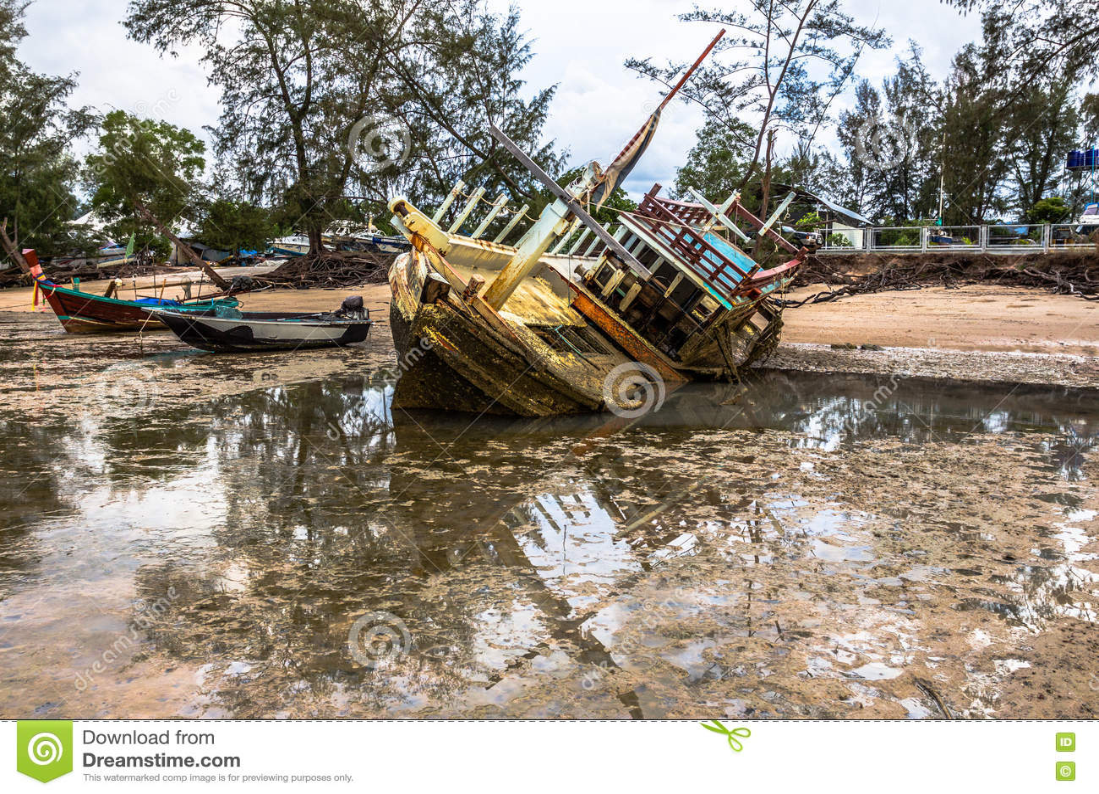 Wreck Fishing Boat Damaged Parked On Wetlands Stock Image