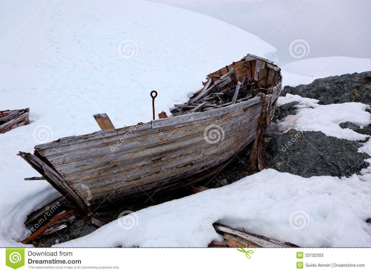 Wreck Of Old Abandoned Whaling Boat In Antarctica Stock Photos - Image ...