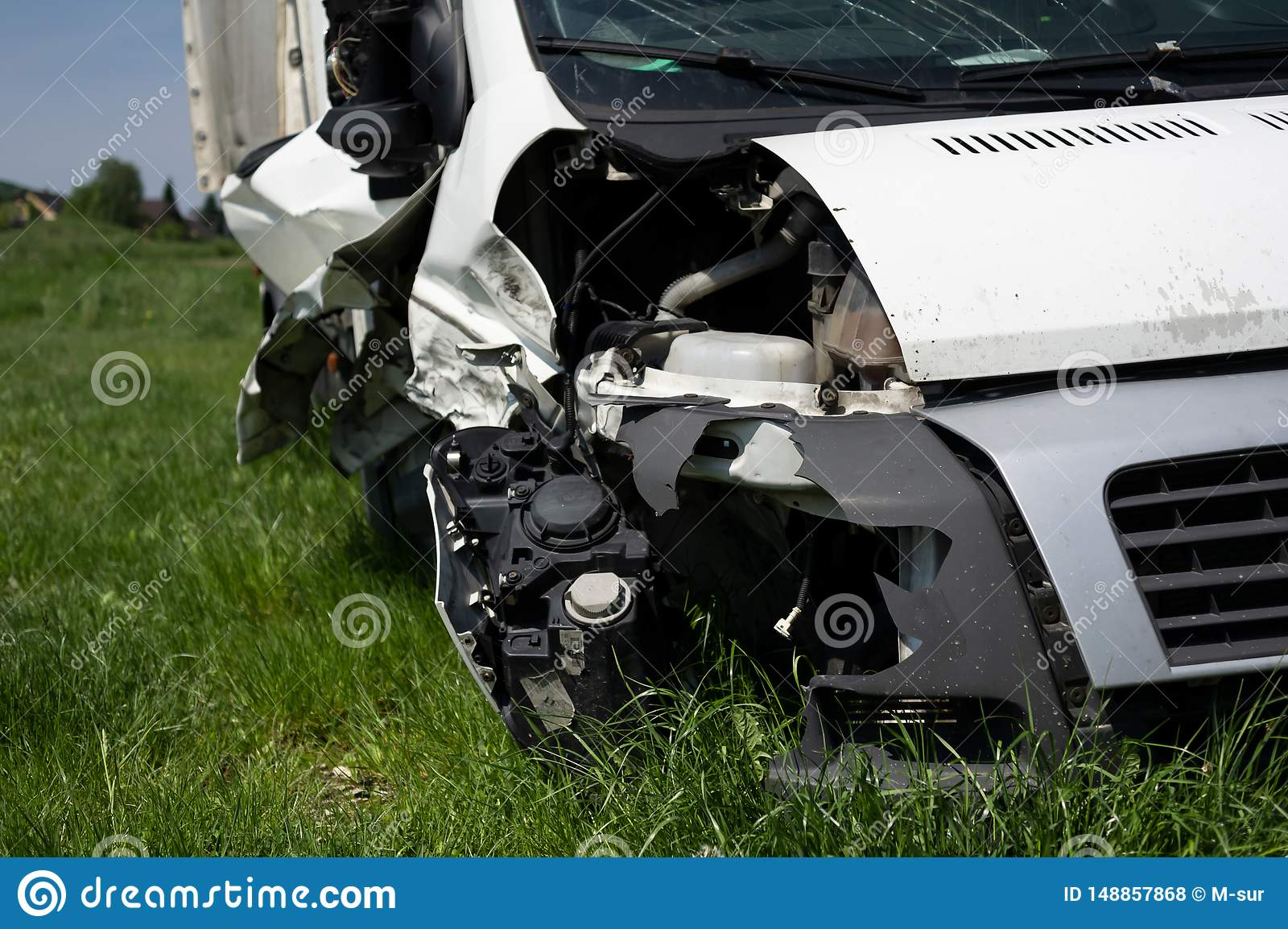 Wreck of vehicle after car crash and accident