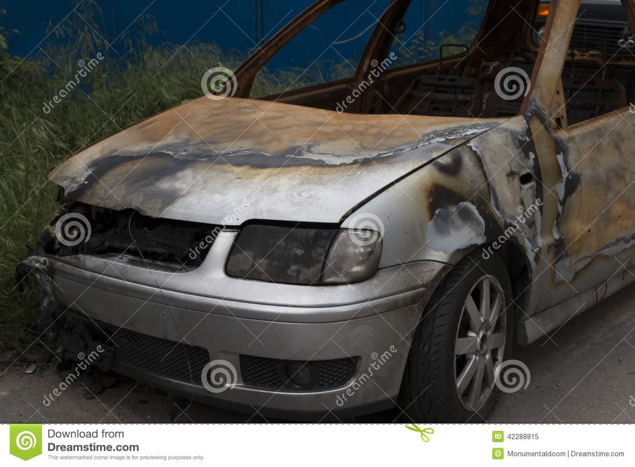 wrecked car close up royalty free stock photography 91987037. Black Bedroom Furniture Sets. Home Design Ideas