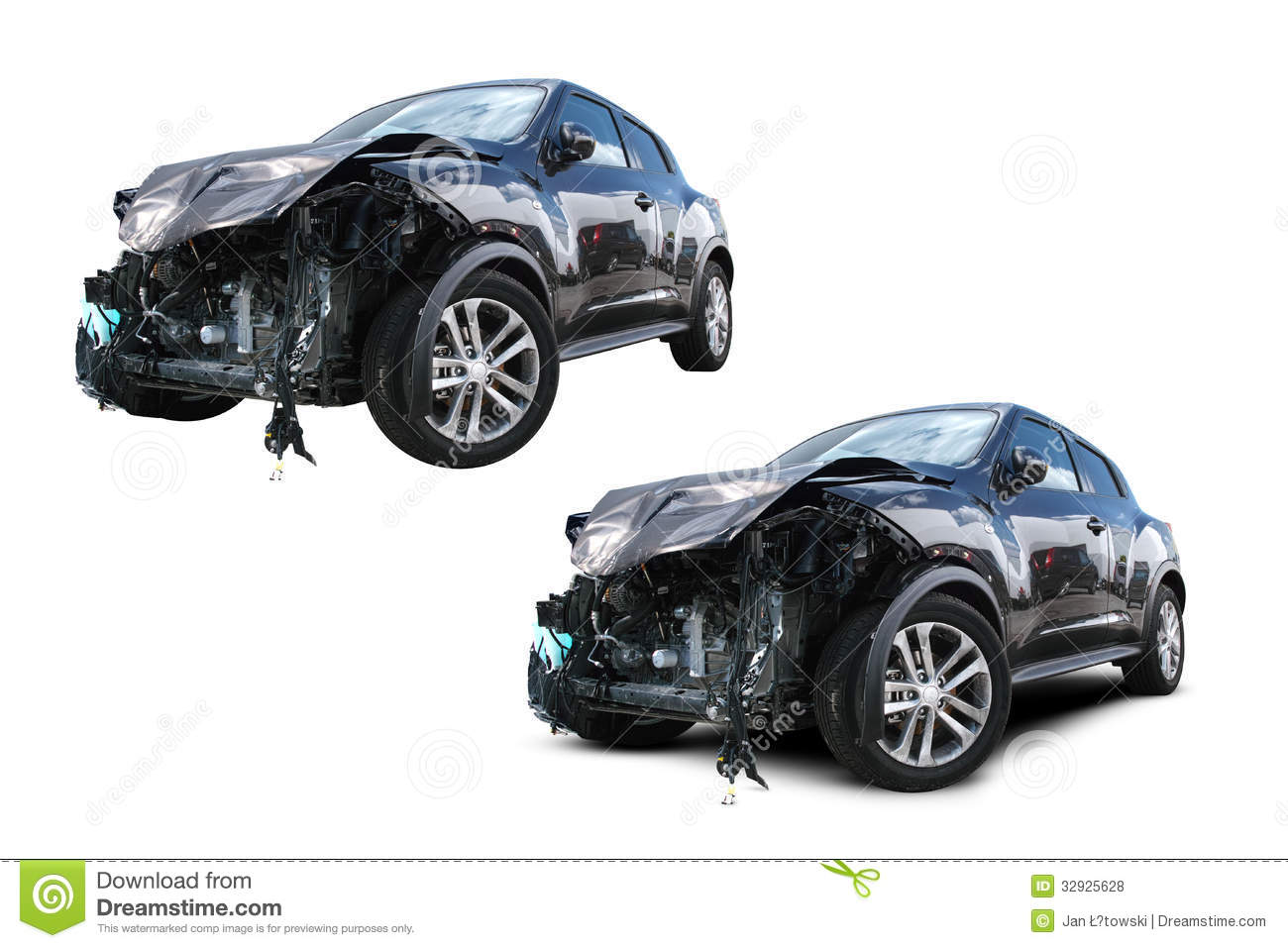 Wrecked Cars Wrecked car isolated on white,
