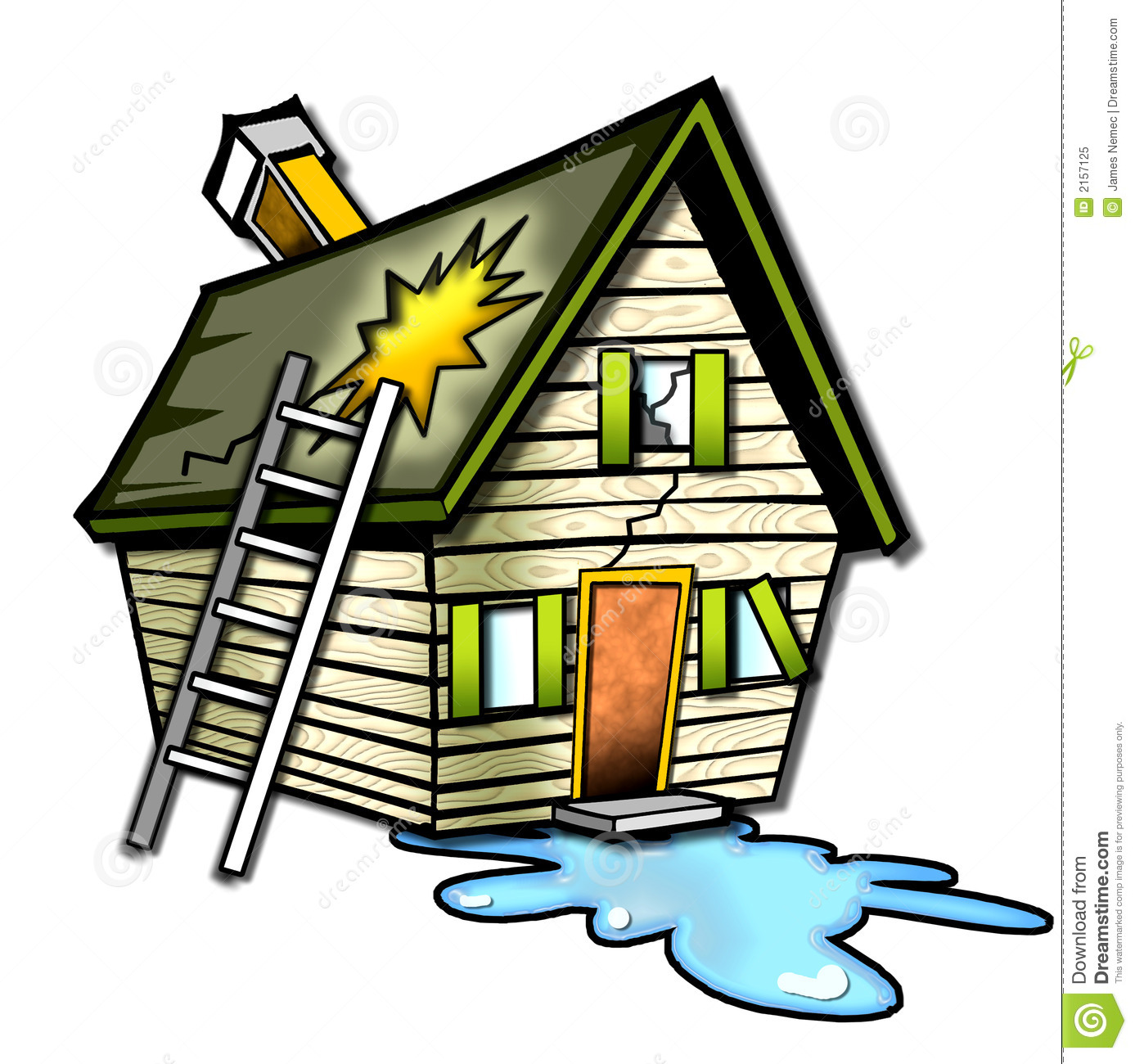 Wrecked Cartoon House Stock Image Image Of Brown Wooden