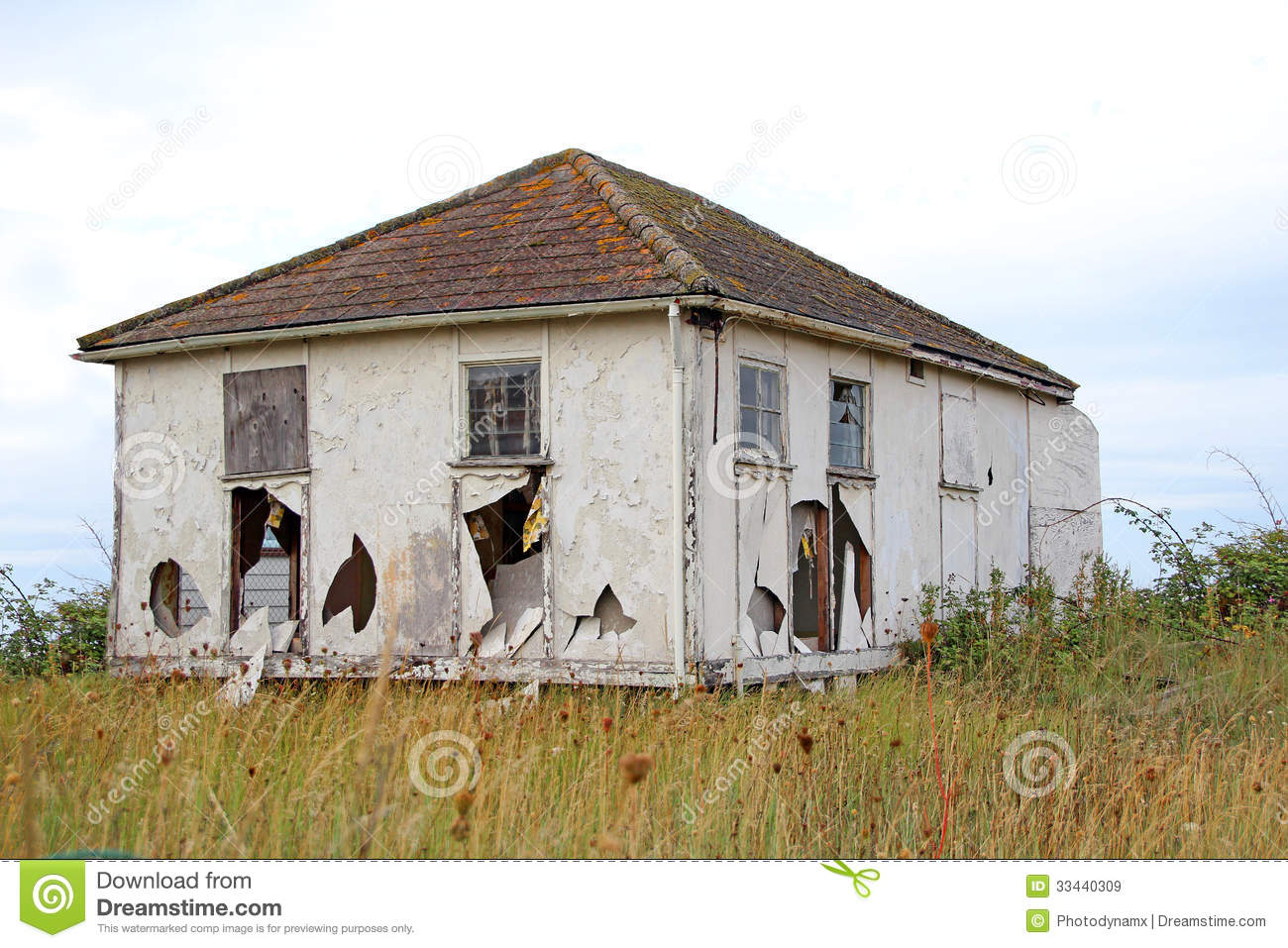 Wrecked chalet bungalow stock image image of neglect for Chalet bungalow designs