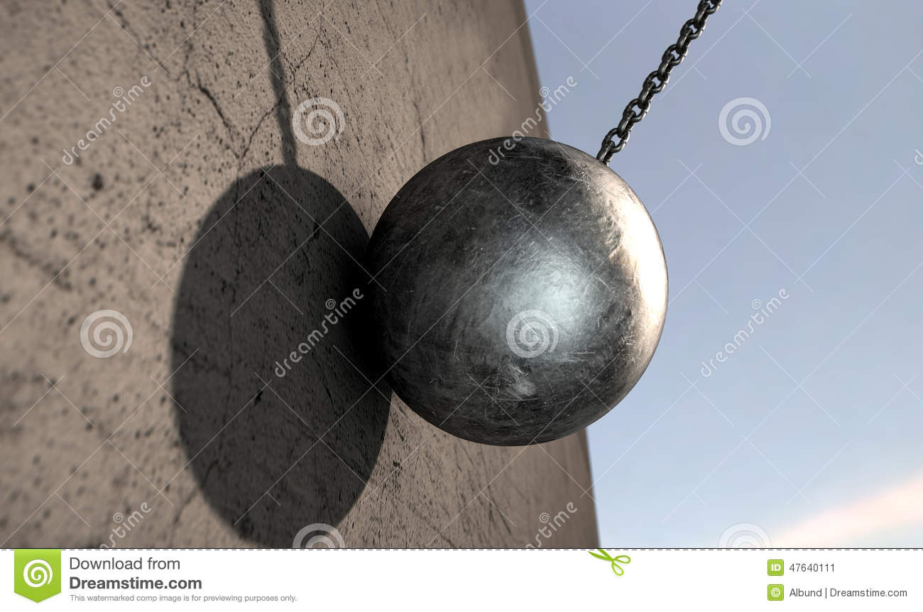 Wrecking Ball Hitting Wall Stock Illustration Image