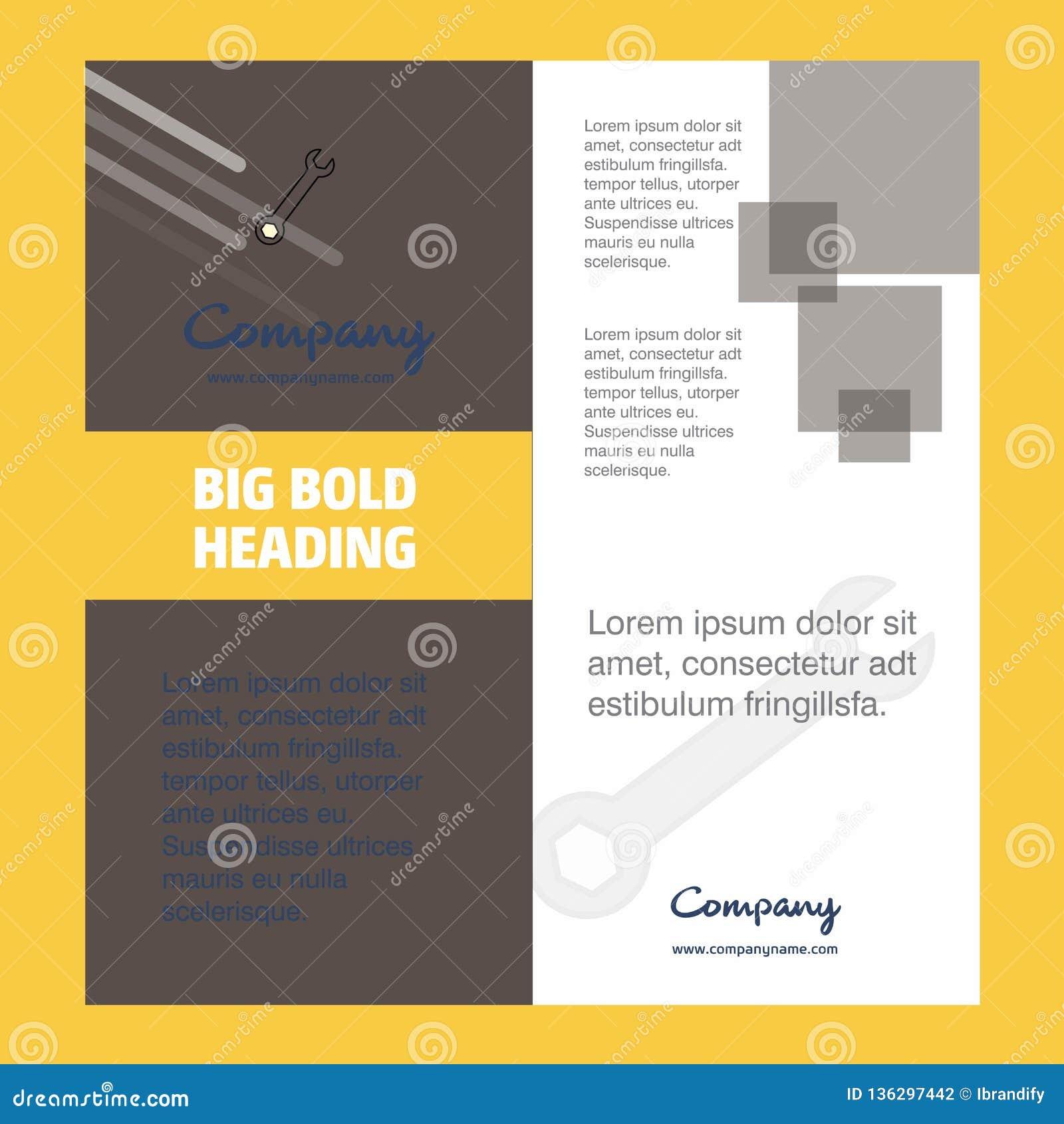 Wrench Company Brochure Title Page Design Company Profile