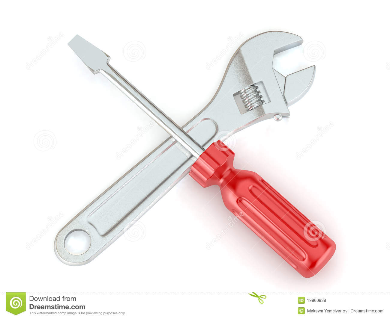 Wrench And Screwdriver Tools 3d Royalty Free Stock