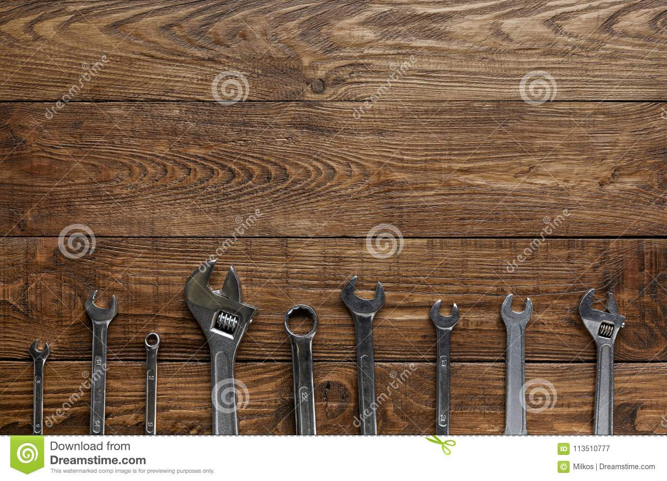 Border Of Repair Tools On Wood Background With Copy Space ...