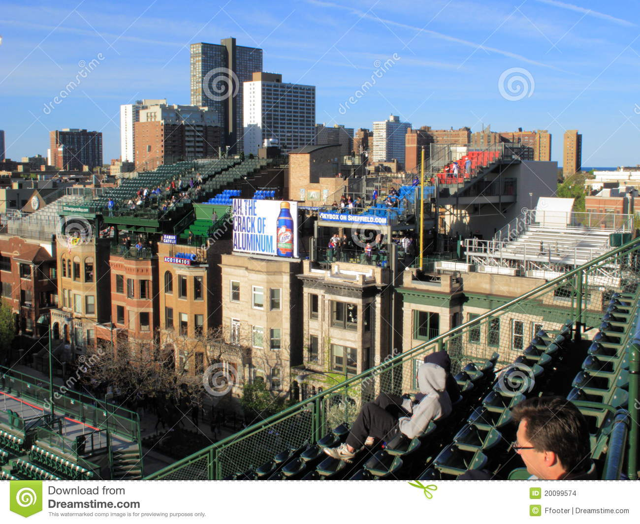 wrigley field chicago cubs rooftop seats editorial stock image