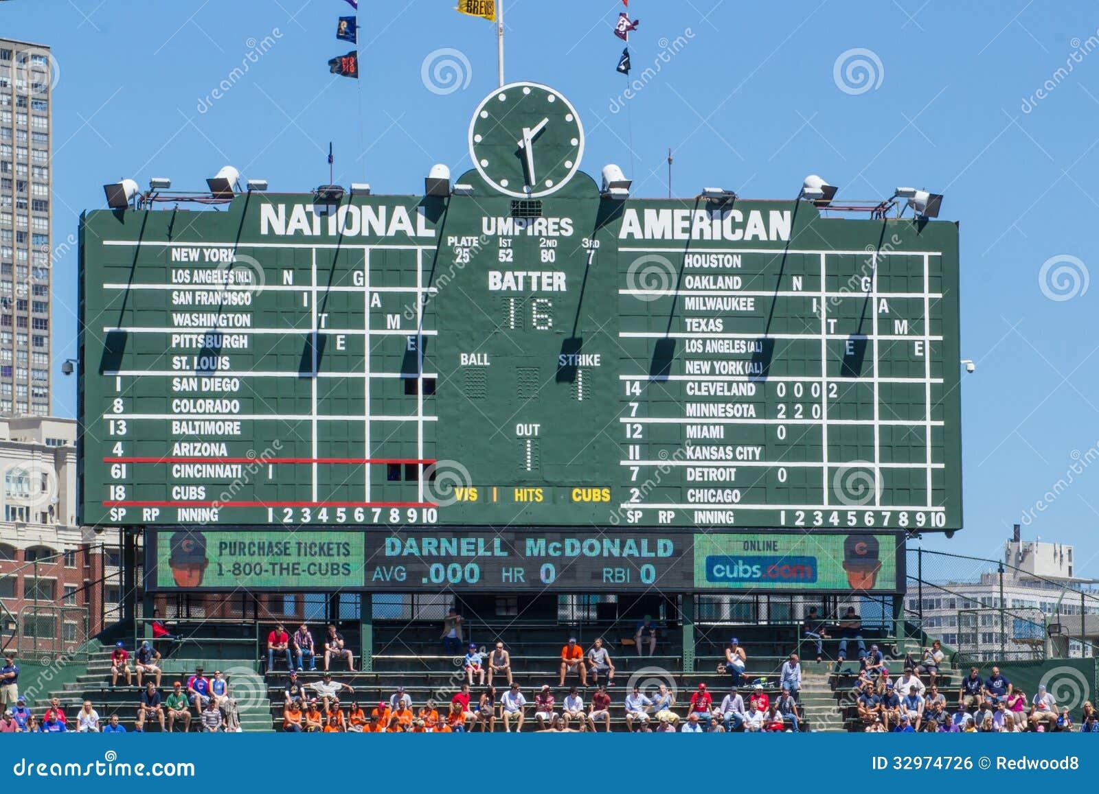 Wrigley Field Scoreboard editorial photo. Image of ...
