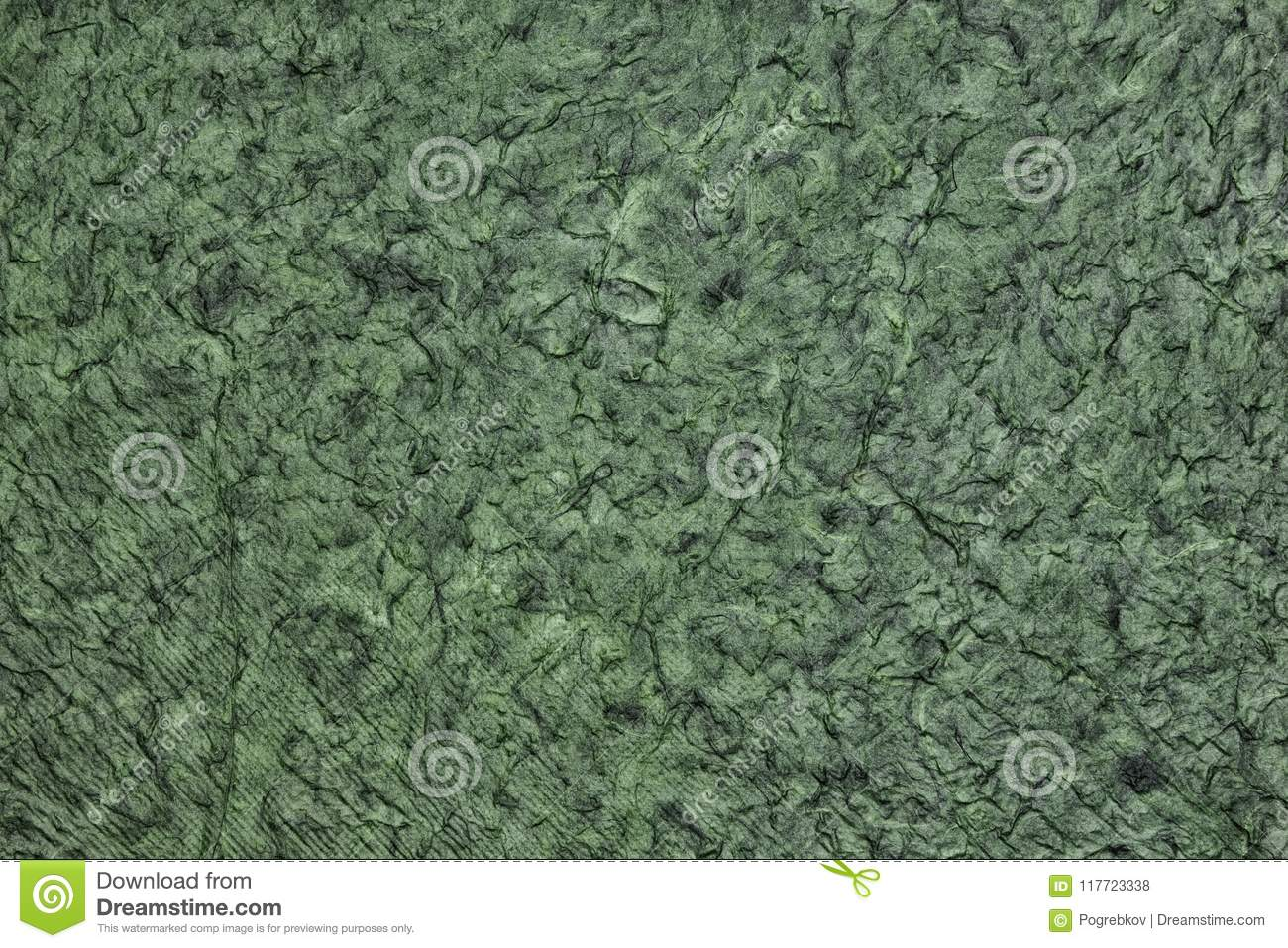 Wrinkled crumpled surface texture - dark green abstract background