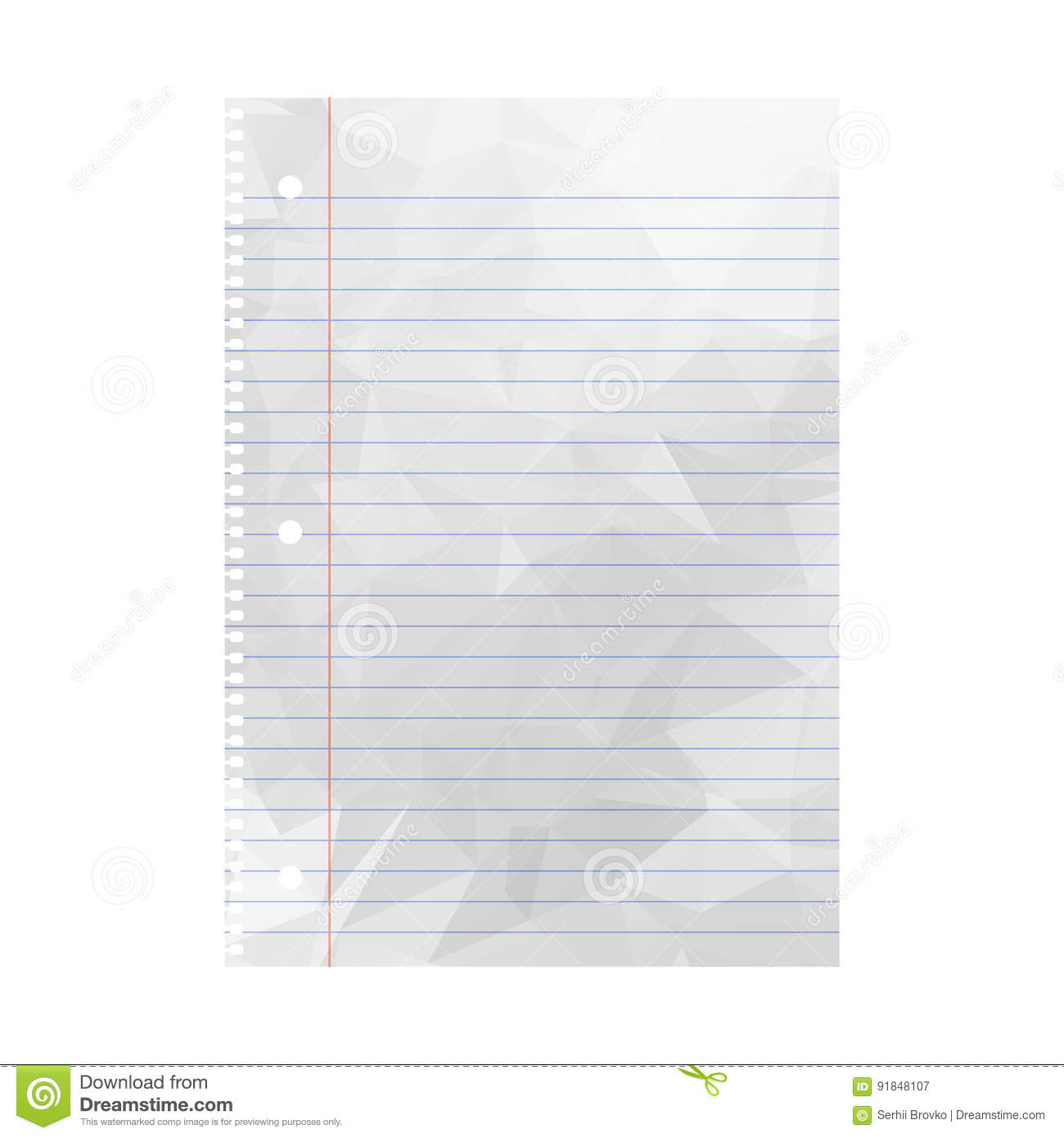 wrinkled note paper. notebook paper with lines stock vector