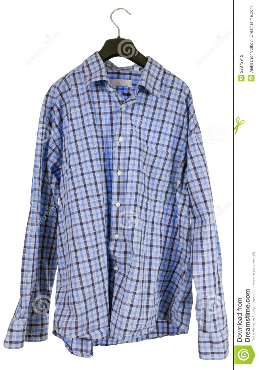 Wrinkled Plaid Shirt Hanging On A Hanger Stock Photo