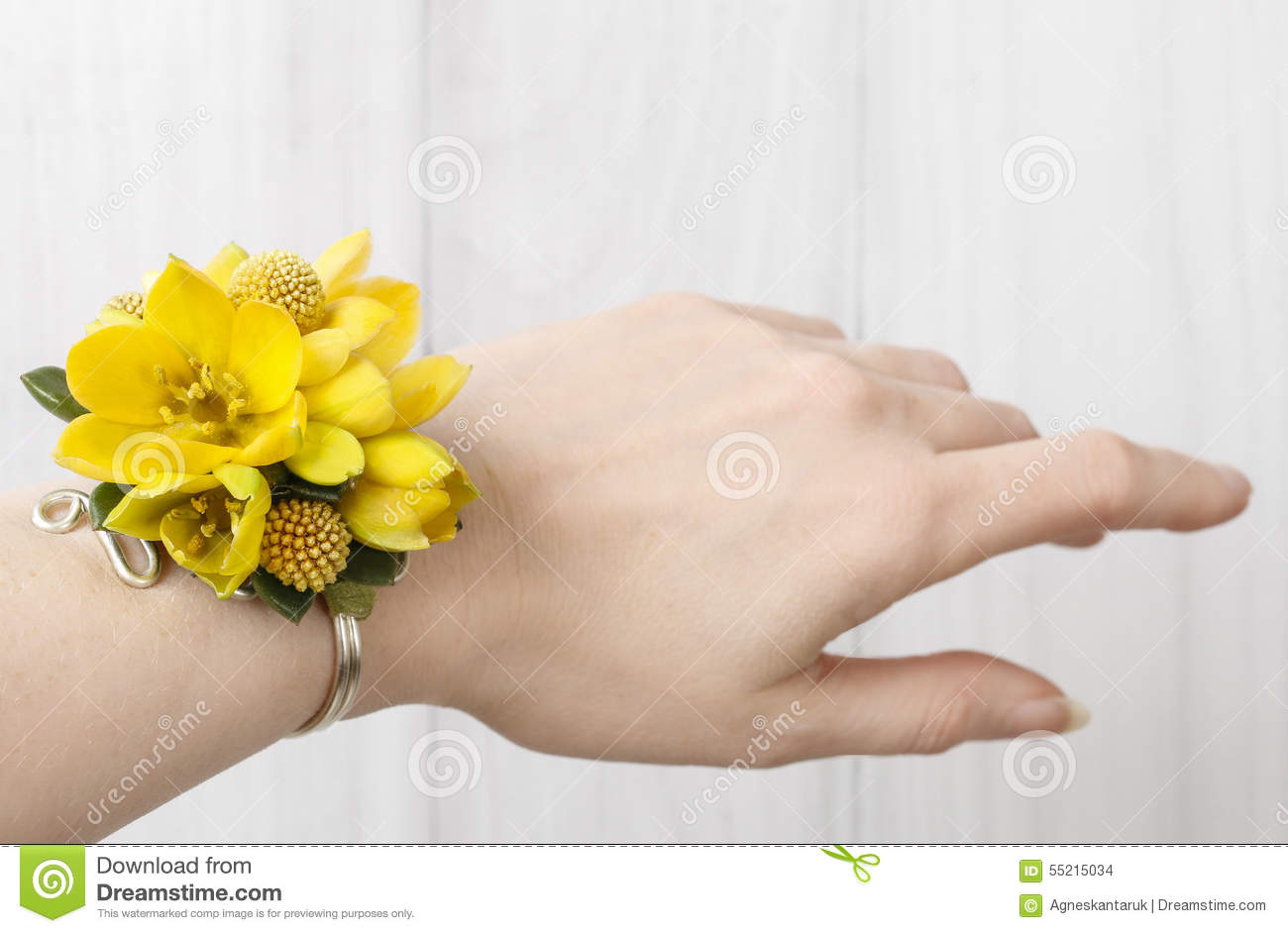 Wrist Corsage Made Of Yellow Flowers Stock Photo Image Of Decor