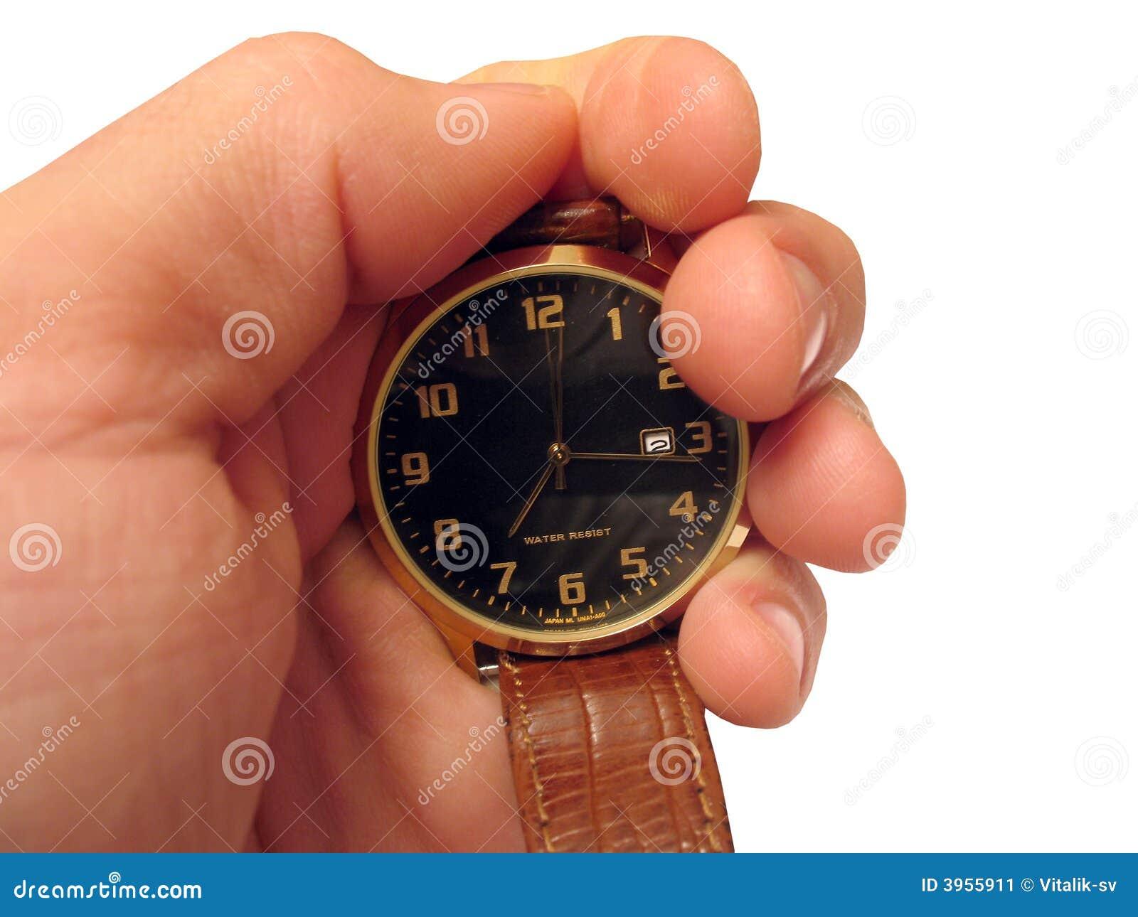 Wrist Watch On Hand Isolated Stock Image - Image: 3955911