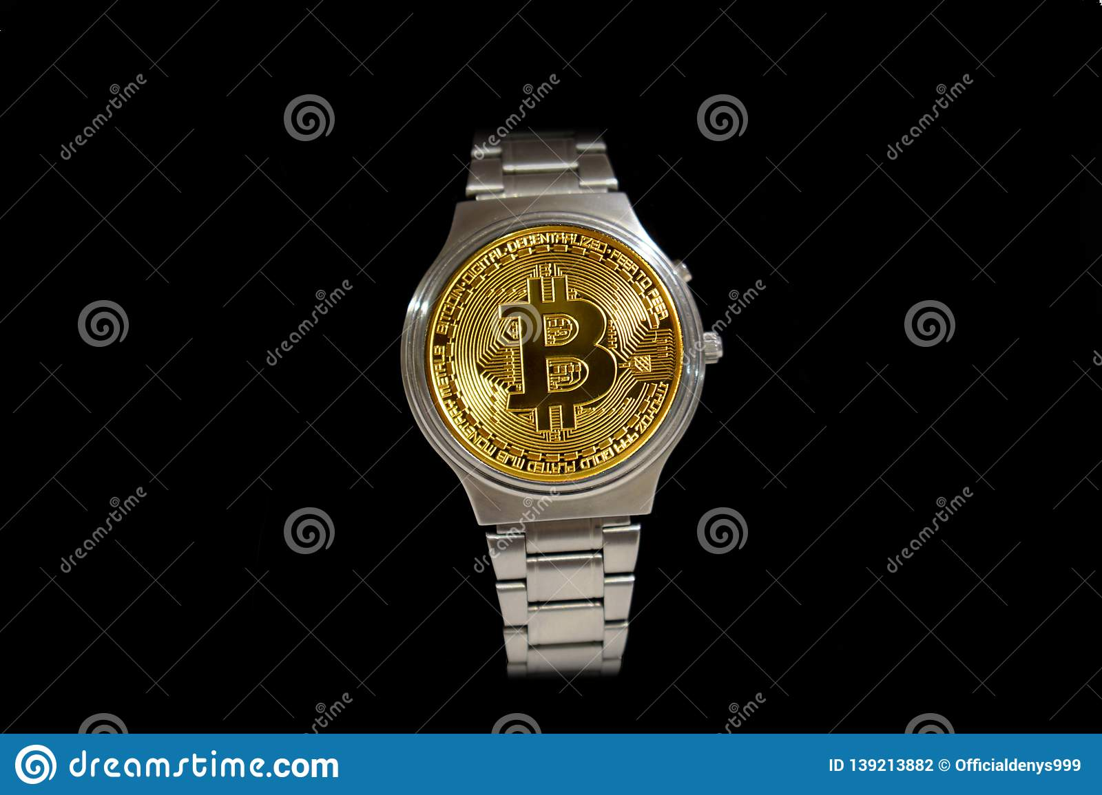 Wrist Watch Screen Bitcoin On Black Background  Crypto, Concept