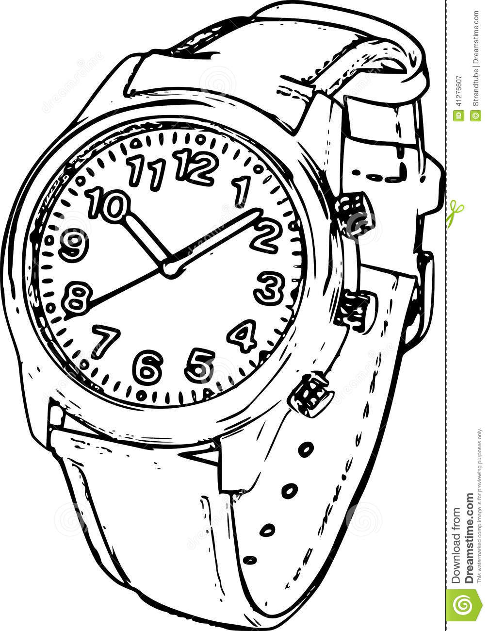 Line Art Illustration : Wrist watch sketch stock illustration image of object